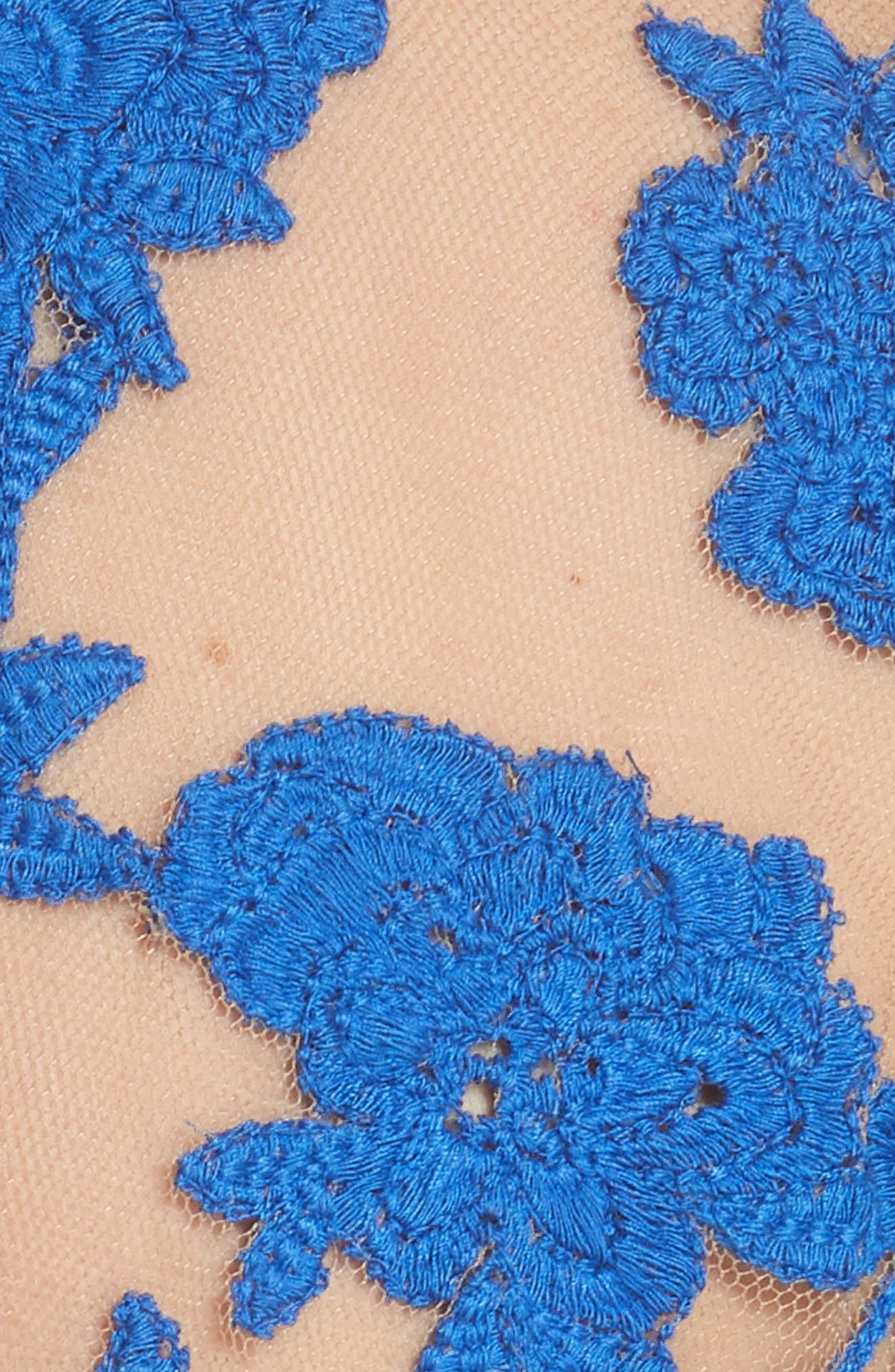 Sheer Embroidered Floral Top,                             Alternate thumbnail 5, color,                             Blue Pigment