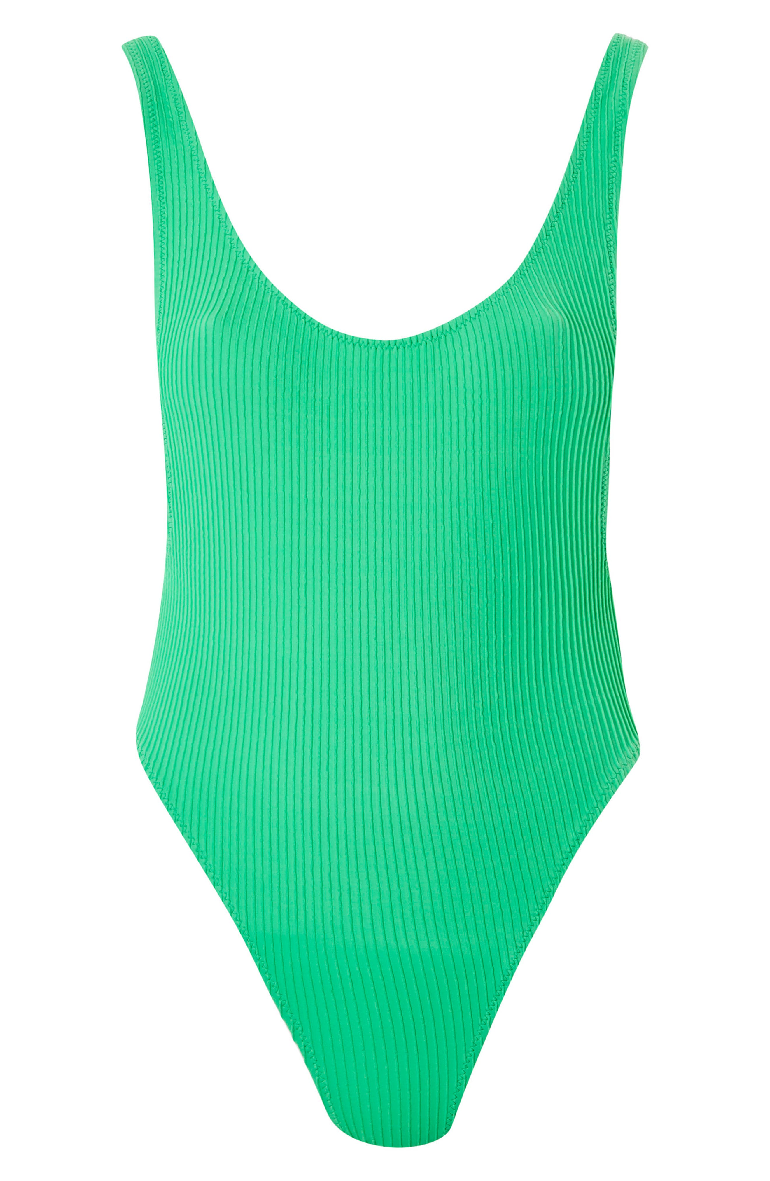 Wavy Rib Scoop Swimsuit,                             Alternate thumbnail 3, color,                             Green
