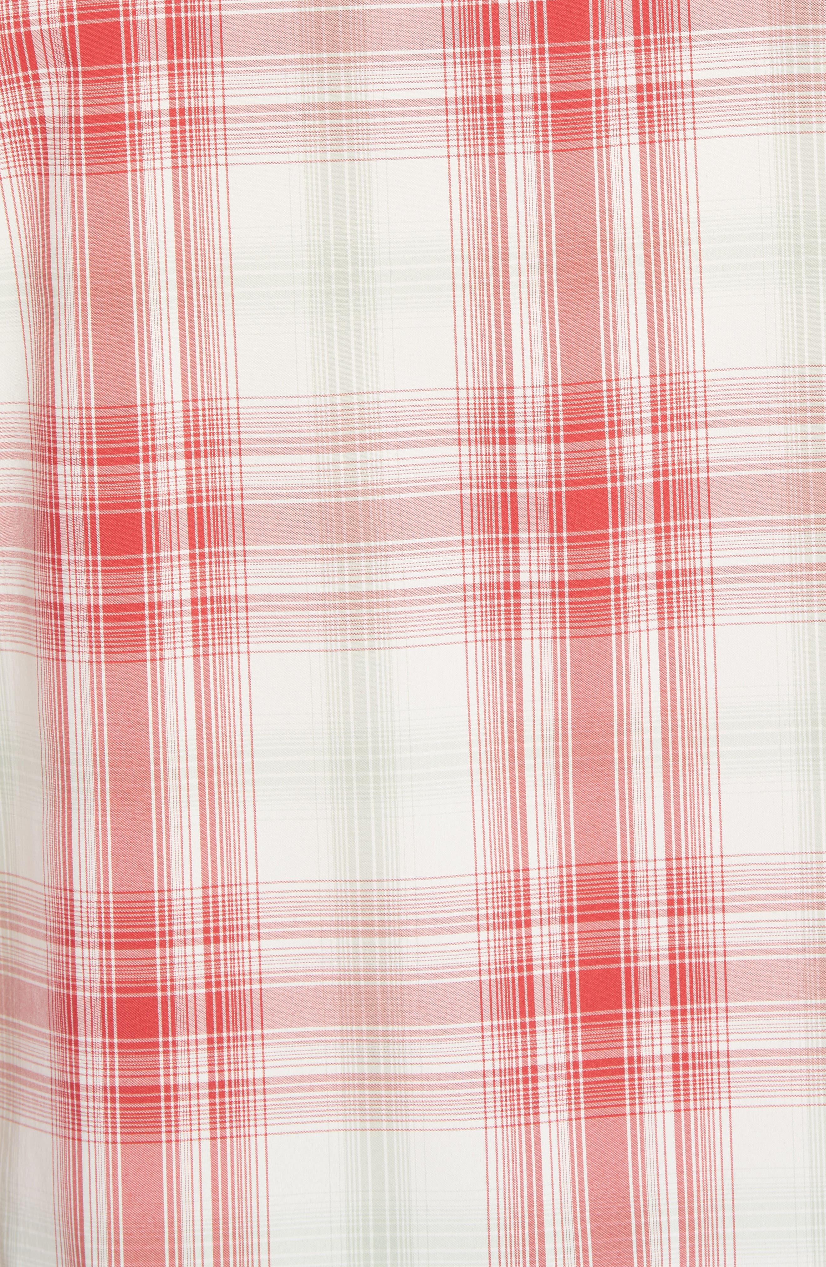 Regular Fit Plaid Sport Shirt,                             Alternate thumbnail 5, color,                             King Swing/ Static Red