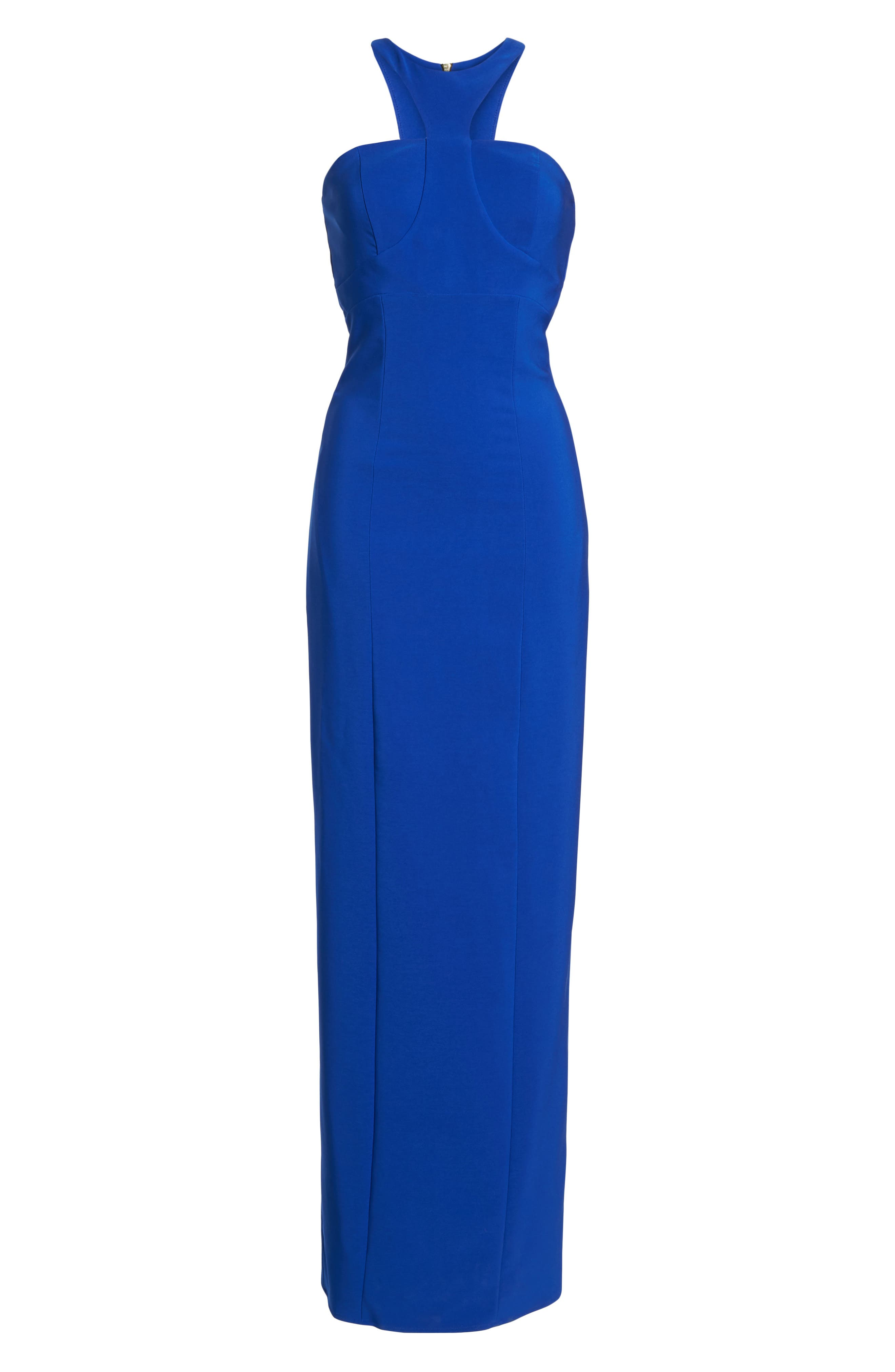 Ava Racer Column Gown,                             Alternate thumbnail 6, color,                             Cobalt