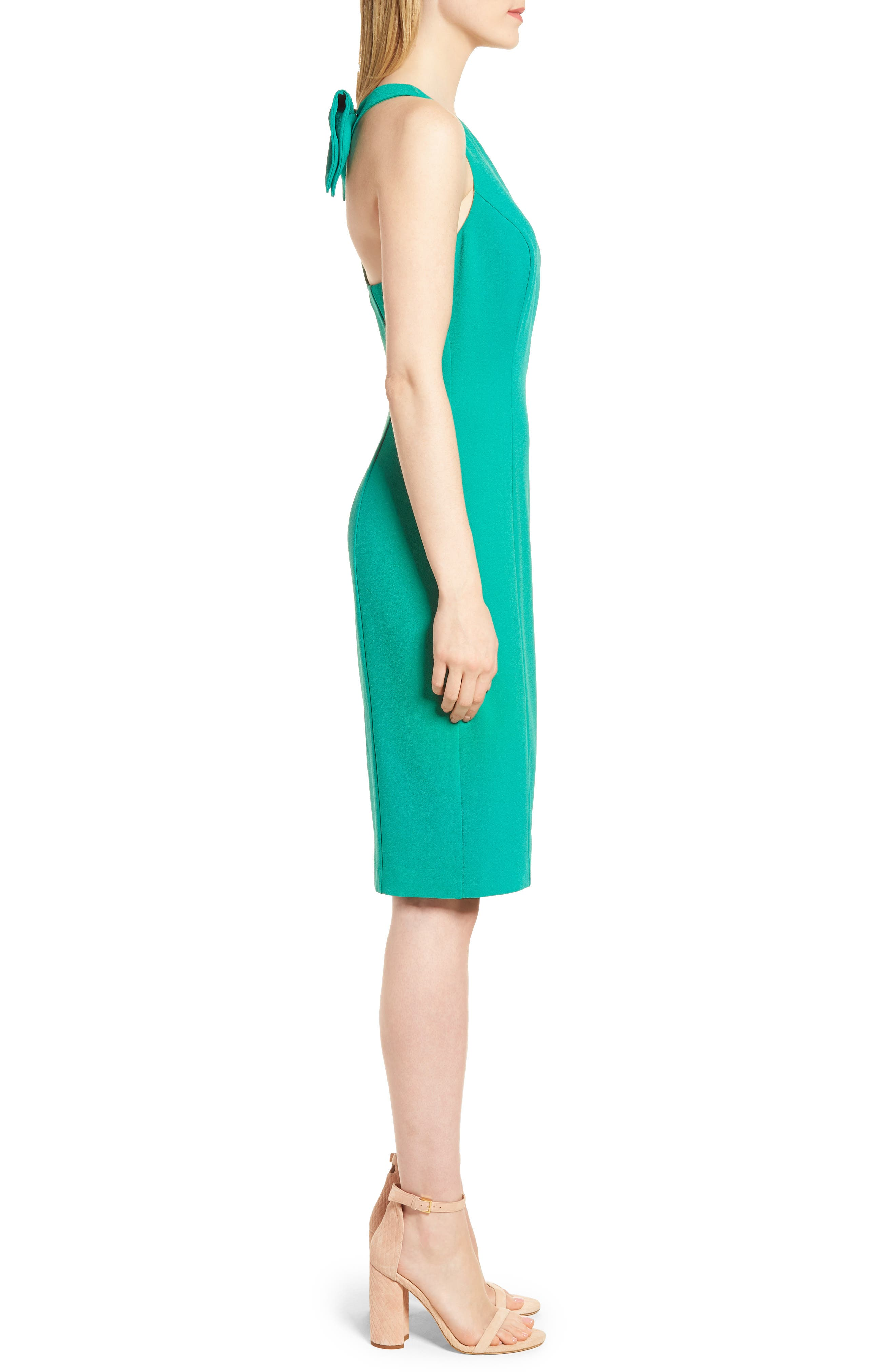 Bow Back Sheath Dress,                             Alternate thumbnail 3, color,                             Green Parakeet