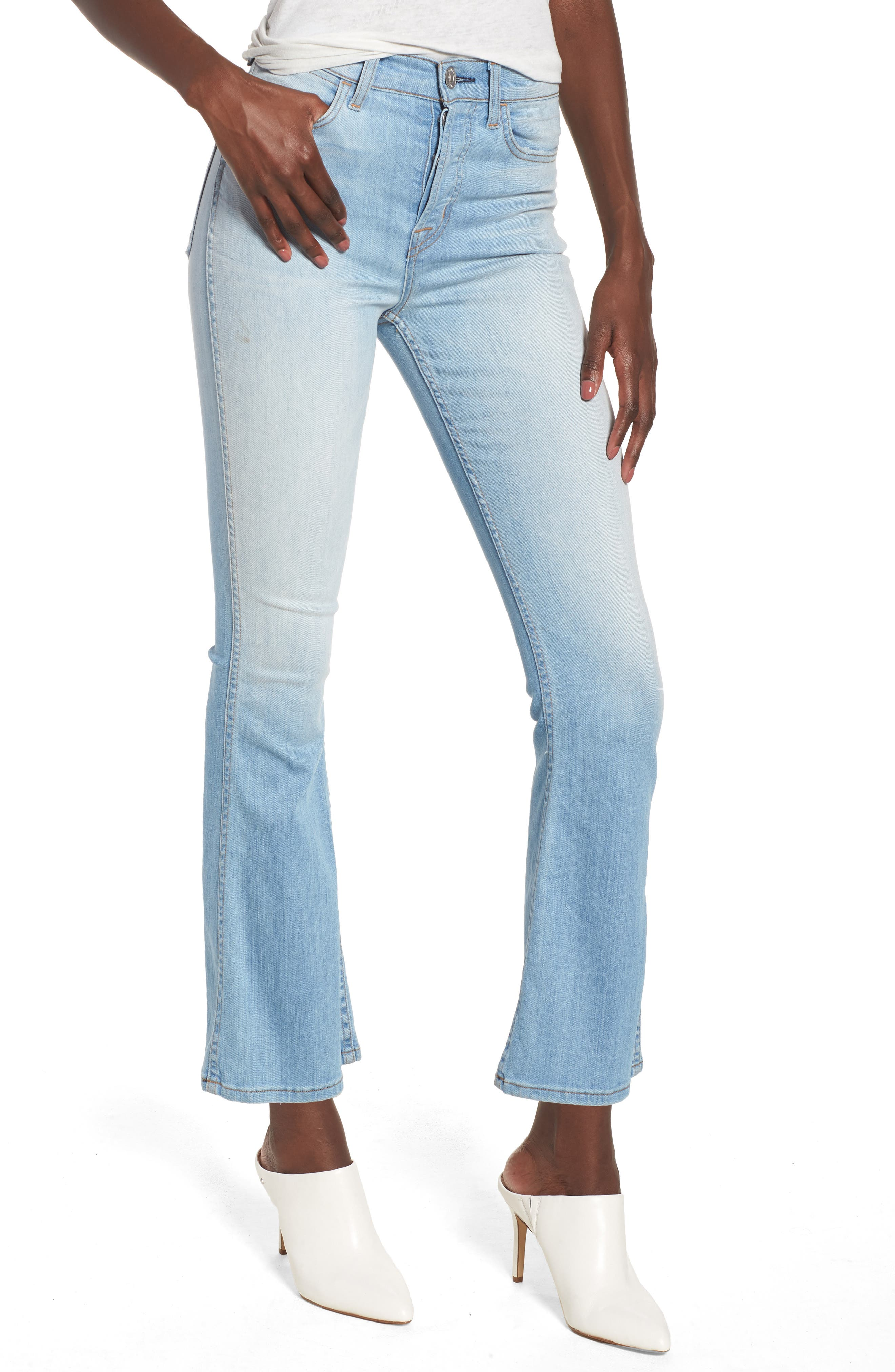 Holly High Waist Crop Flare Jeans,                         Main,                         color, Closer
