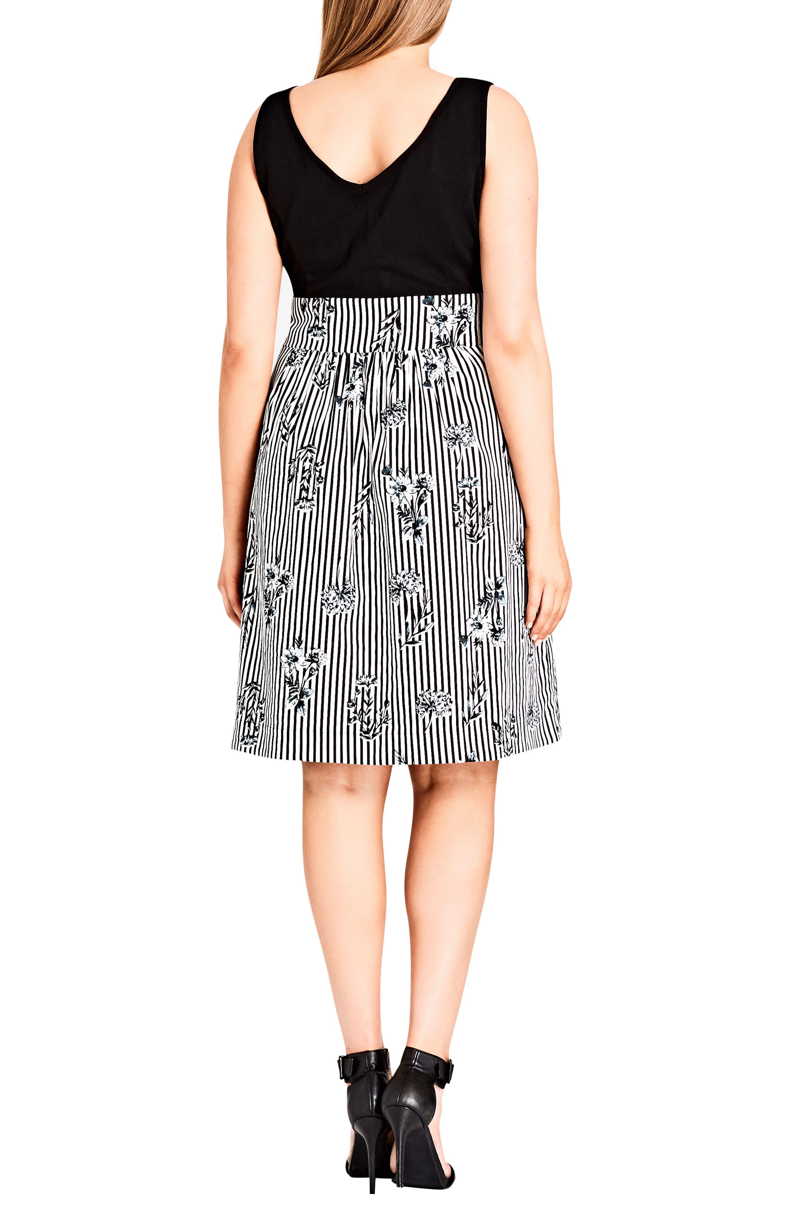 Stripe Floral A-Line Dress,                             Alternate thumbnail 2, color,                             Flower Line