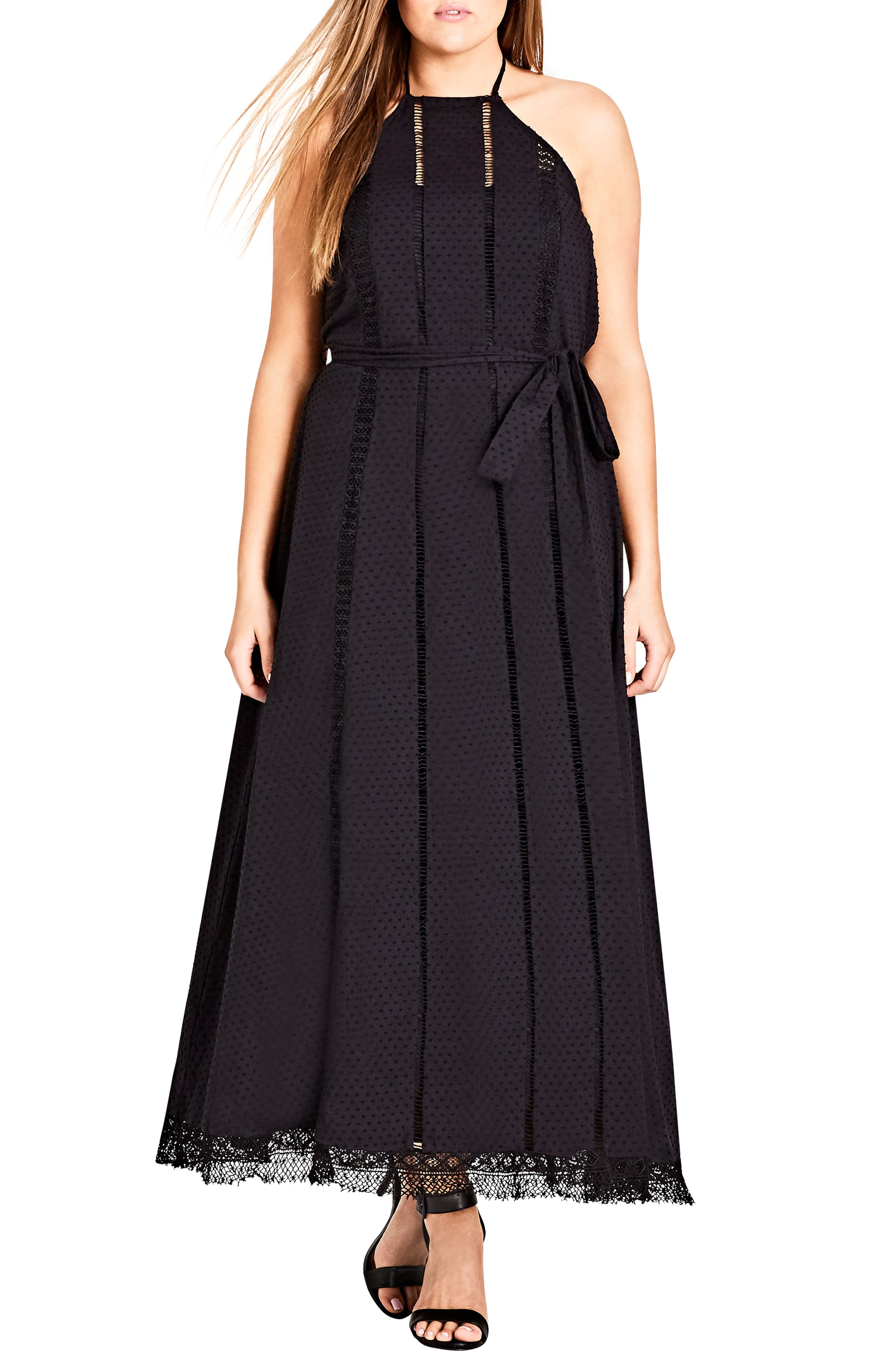 Lace Trim Swiss Dot Halter Maxi Dress,                         Main,                         color, Black