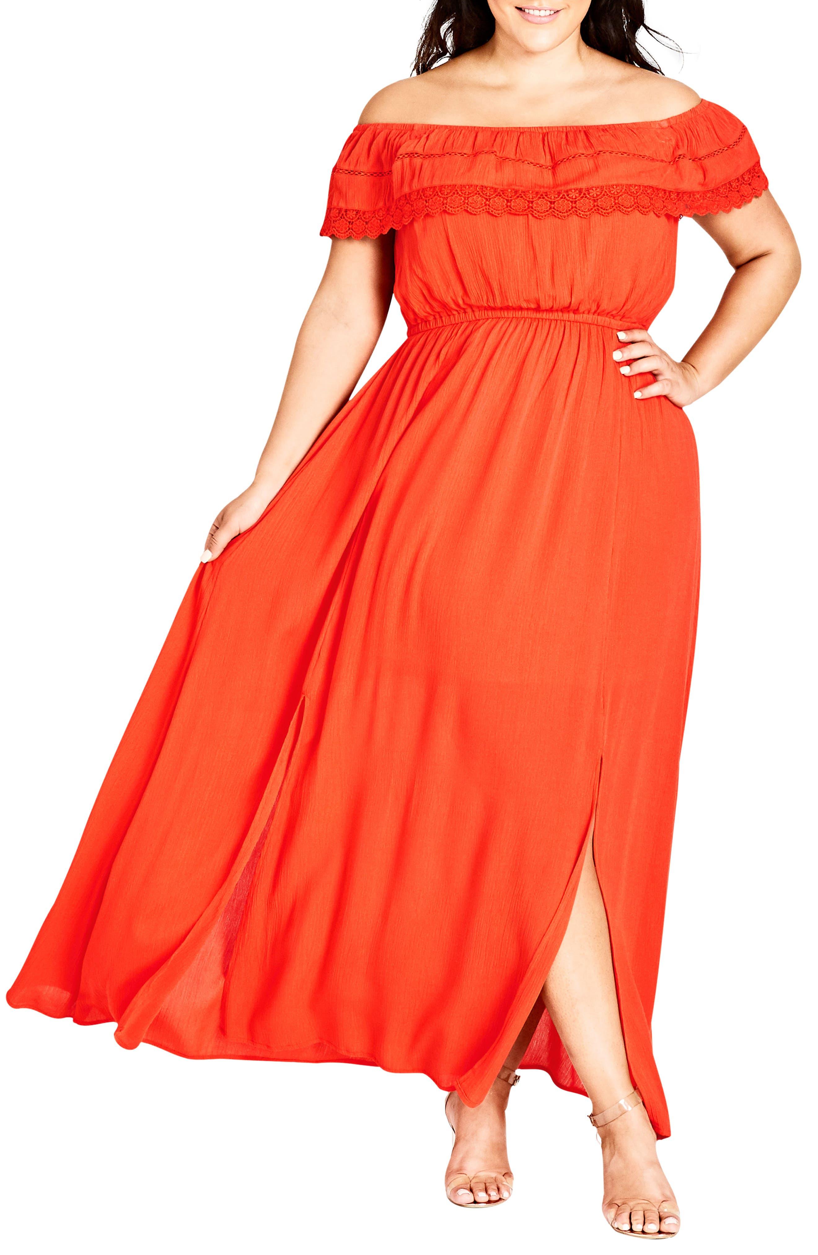 Off the Shoulder Maxi Dress,                         Main,                         color, Coral