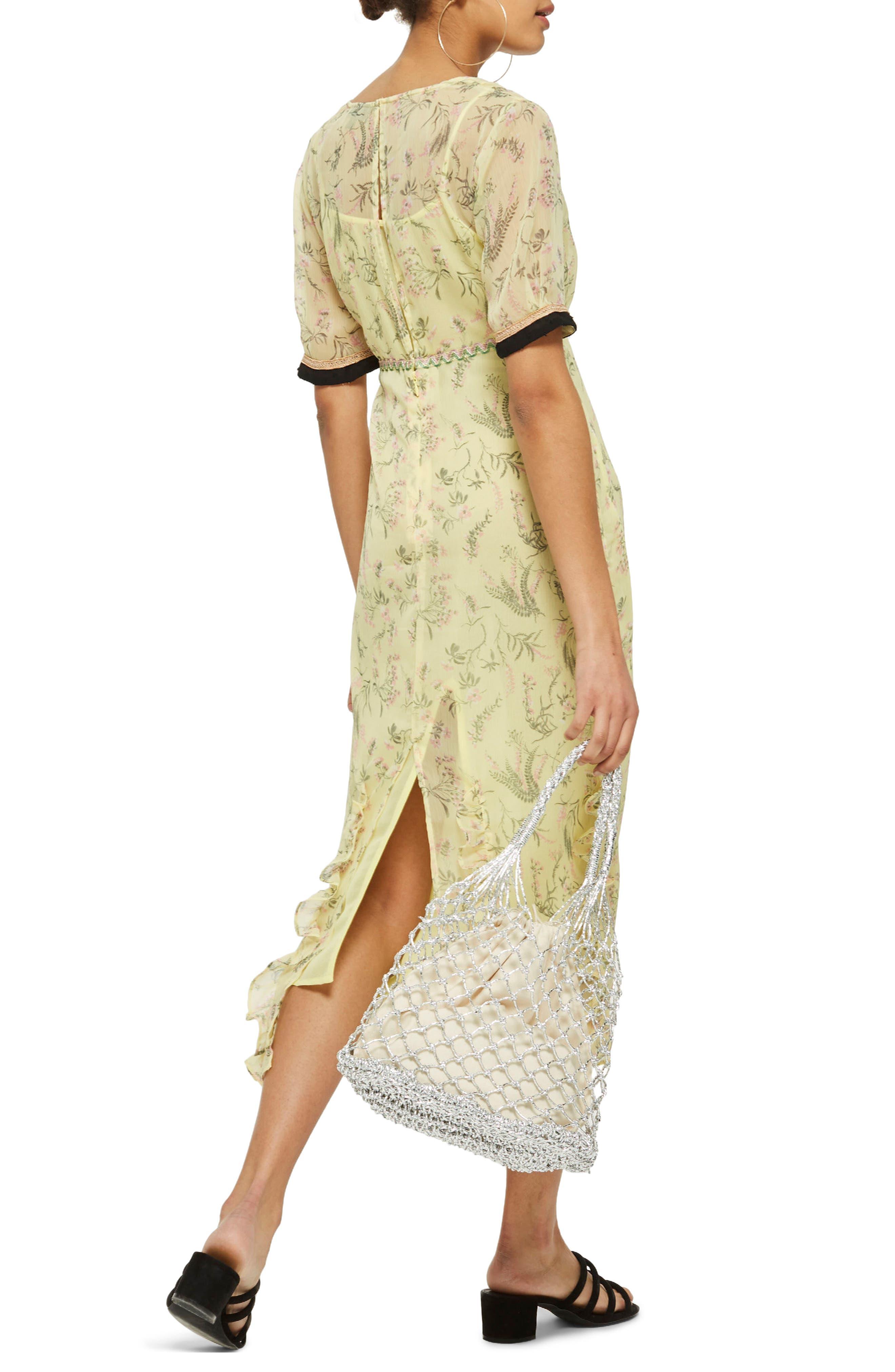 Rodeo Print Frill Midi Dress,                             Alternate thumbnail 2, color,                             Yellow Multi