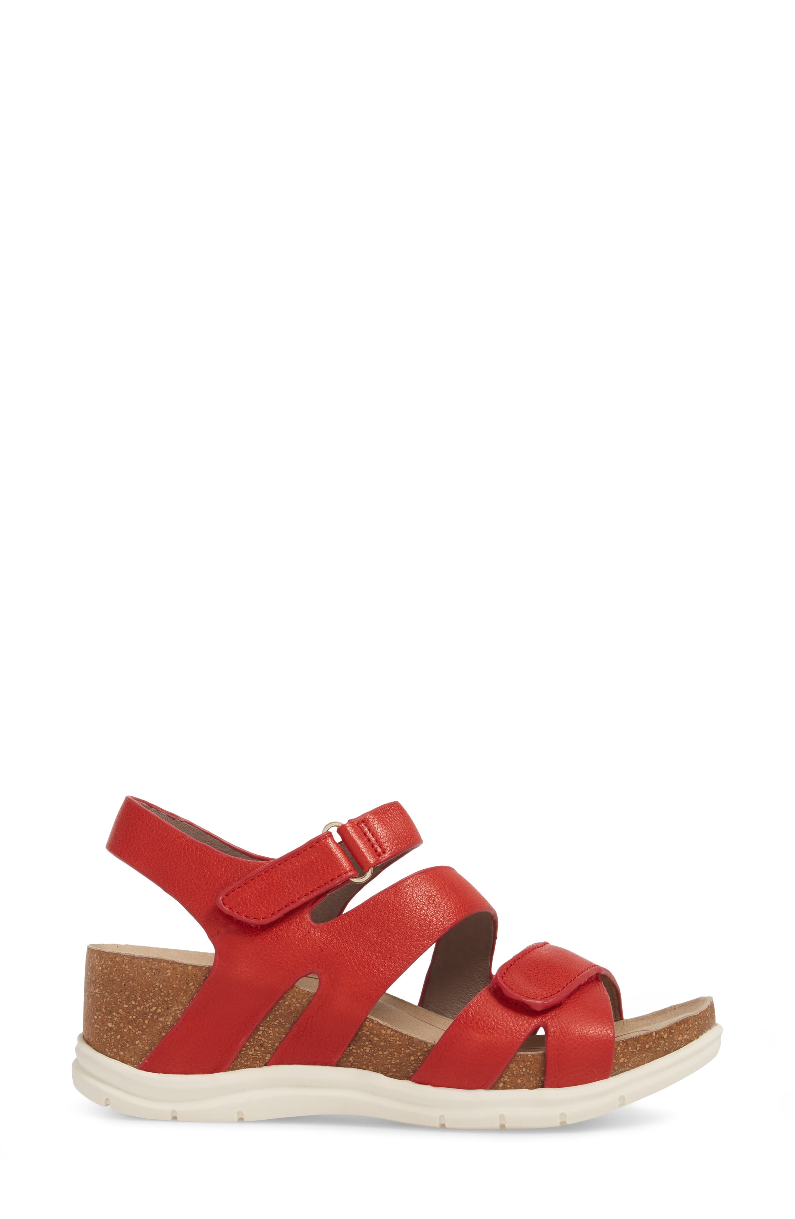 Passion Wedge Sandal,                             Alternate thumbnail 3, color,                             Fire Red Leather