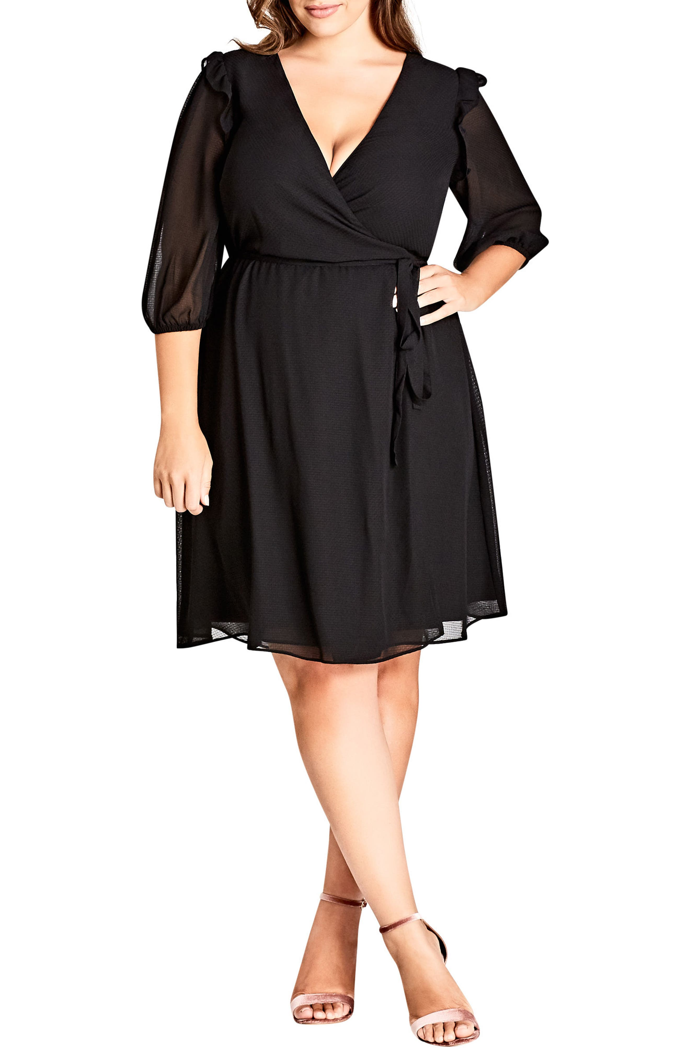 Simply So Wrap Dress,                         Main,                         color, Black