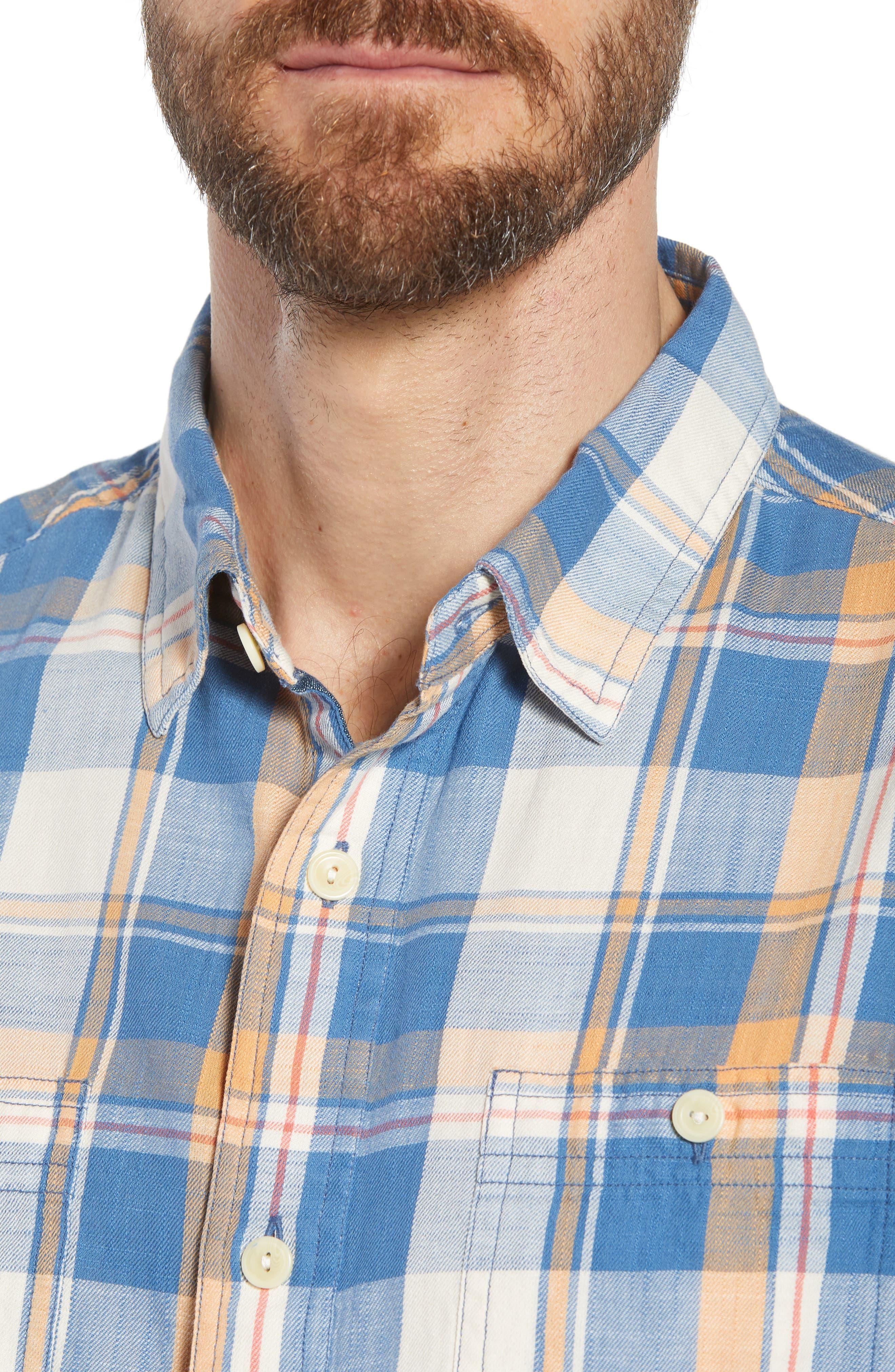 Sherman Plaid Slub Twill Sport Shirt,                             Alternate thumbnail 2, color,                             Blue Mustard Red
