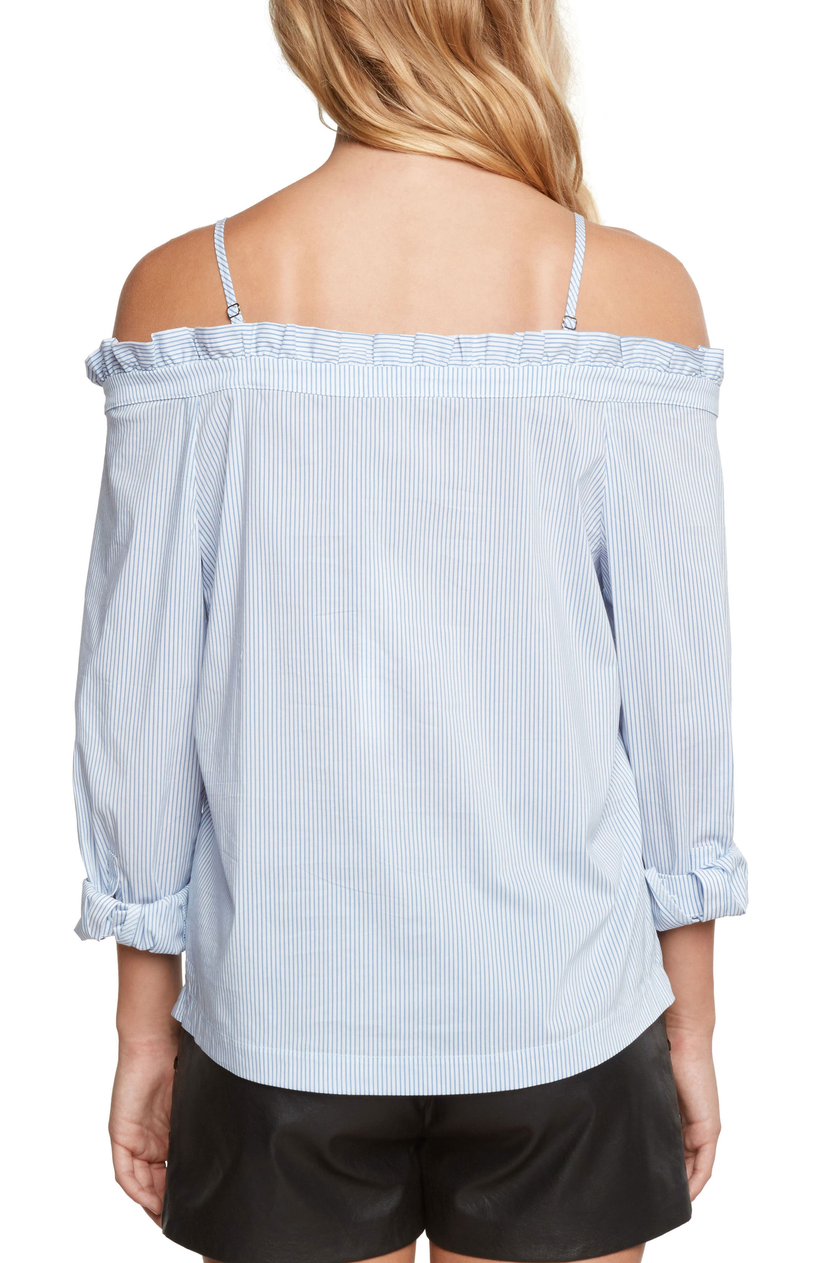 Off the Shoulder Poplin Top,                             Alternate thumbnail 2, color,                             Chambray