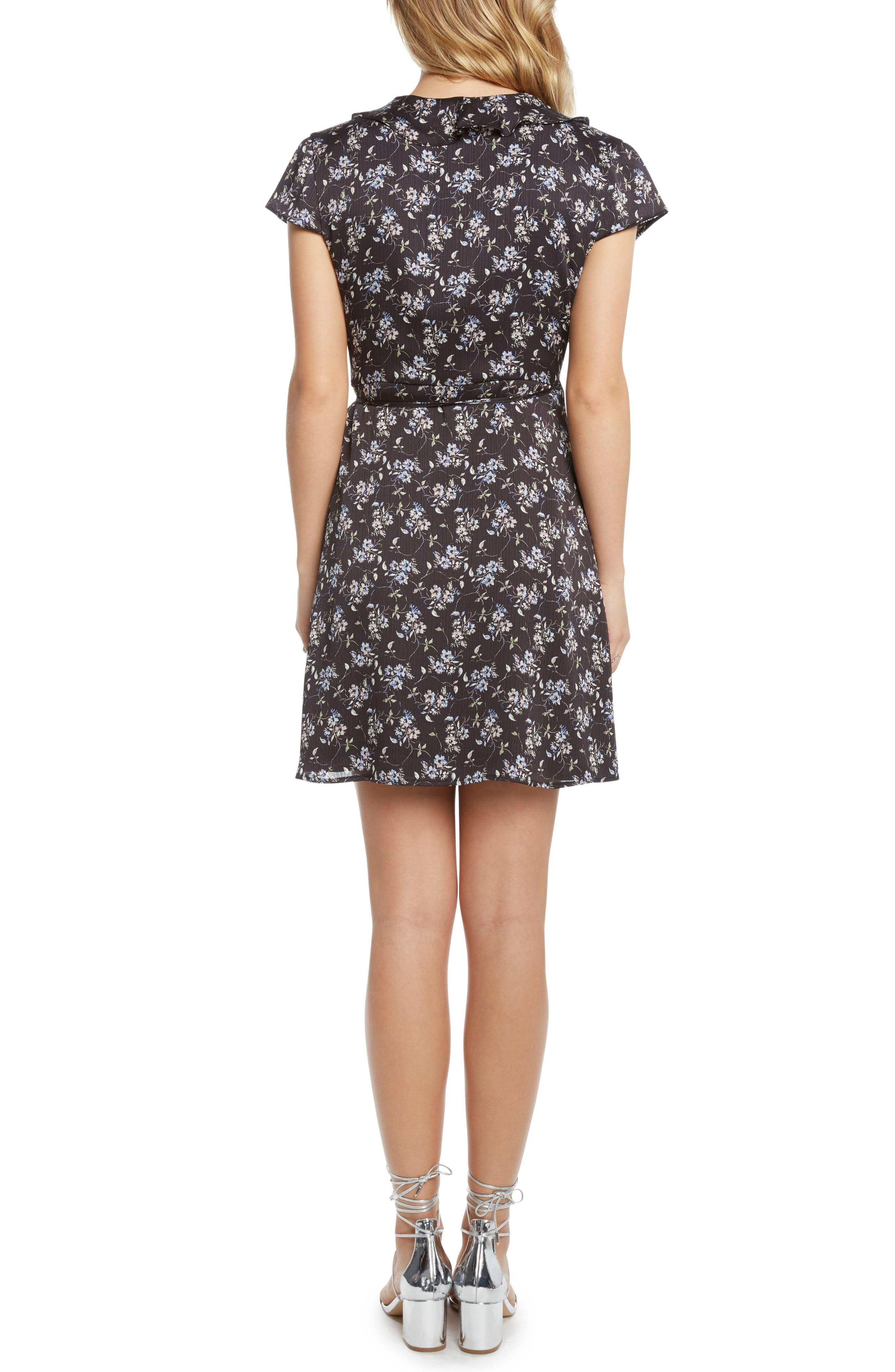 Print Wrap Dress,                             Alternate thumbnail 2, color,                             Black