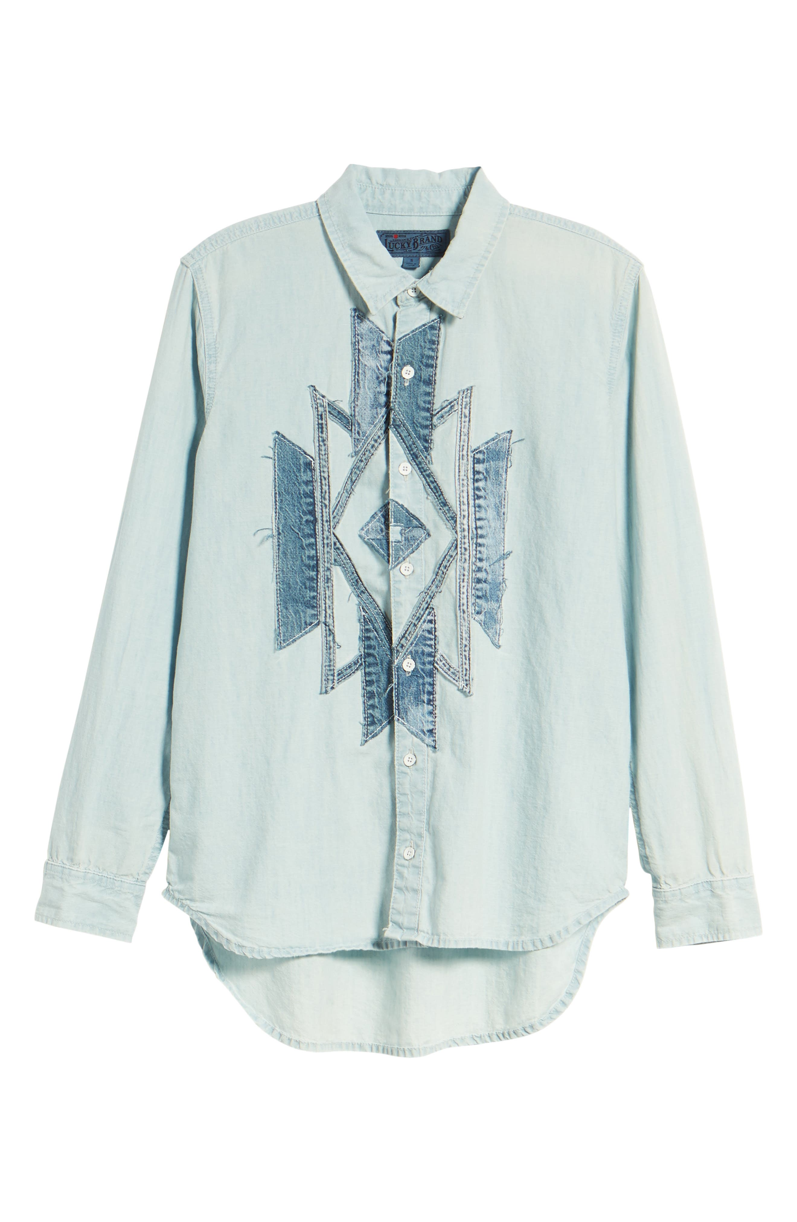 Lucky Southwestern Patch Shirt,                             Alternate thumbnail 7, color,                             Navajo Fort Bend