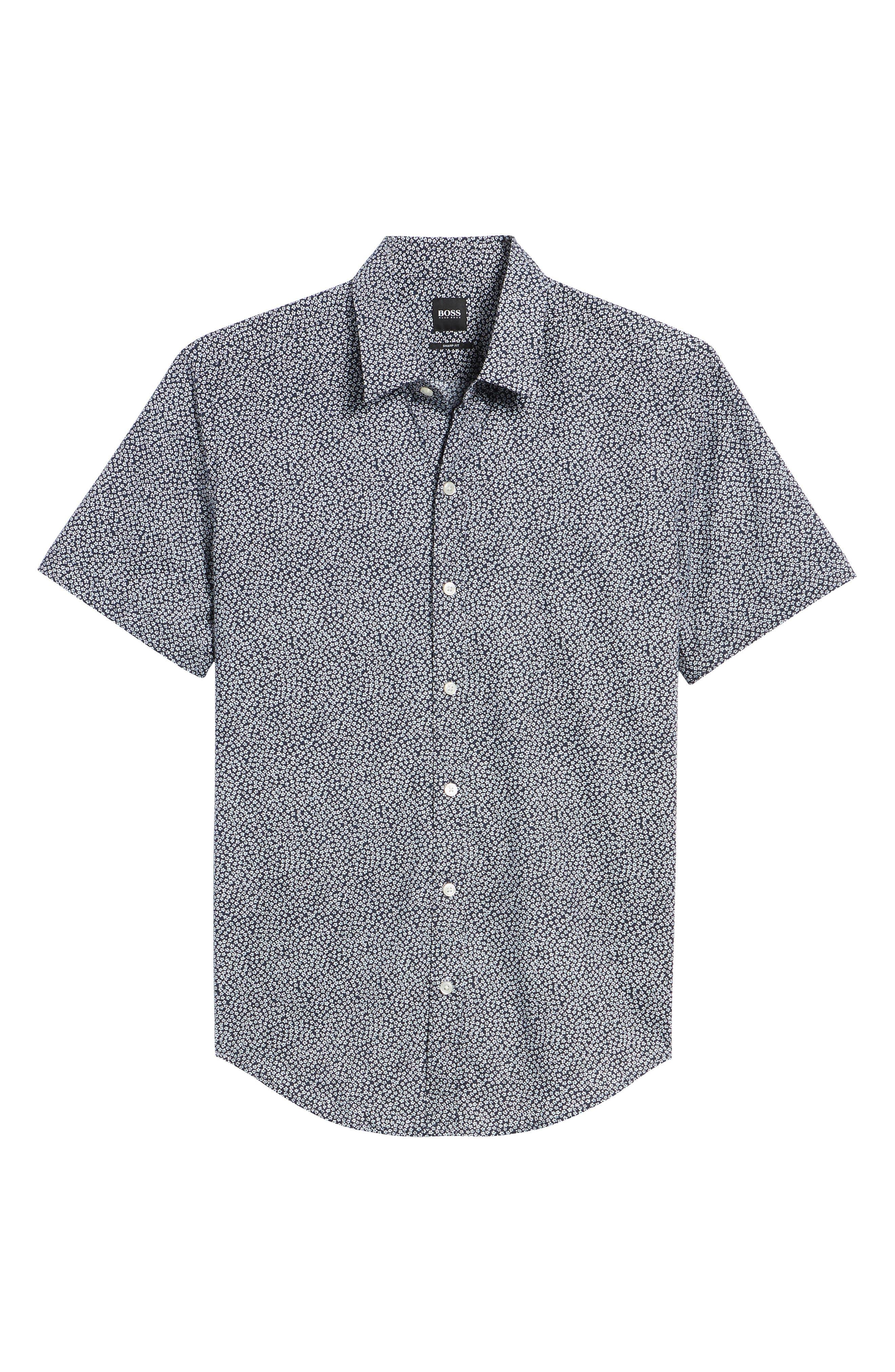 Alternate Image 6  - BOSS Robb Trim Fit Floral Short Sleeve Sport Shirt