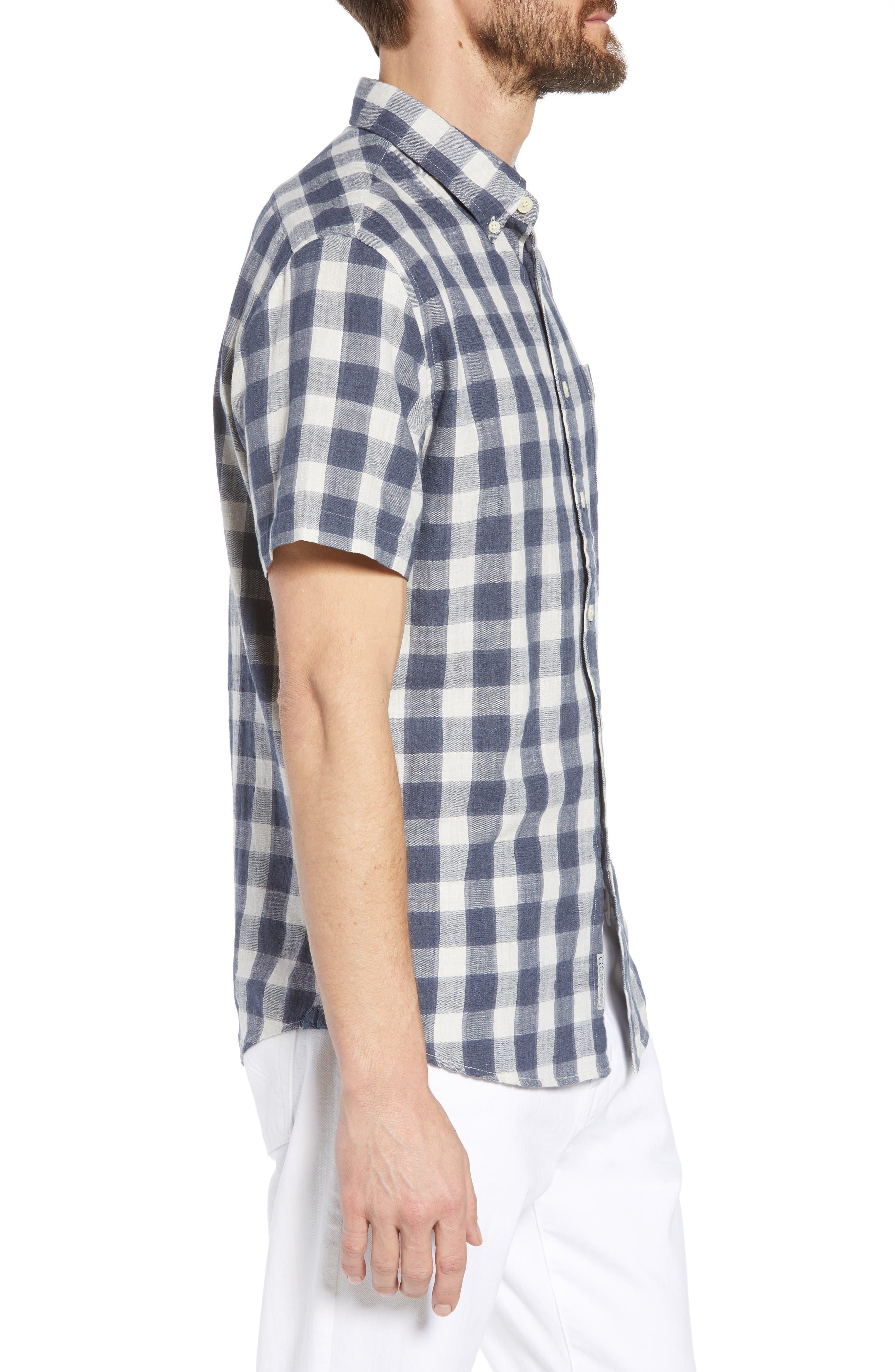 Gingham Twill Sport Shirt,                             Alternate thumbnail 4, color,                             Grey Cream