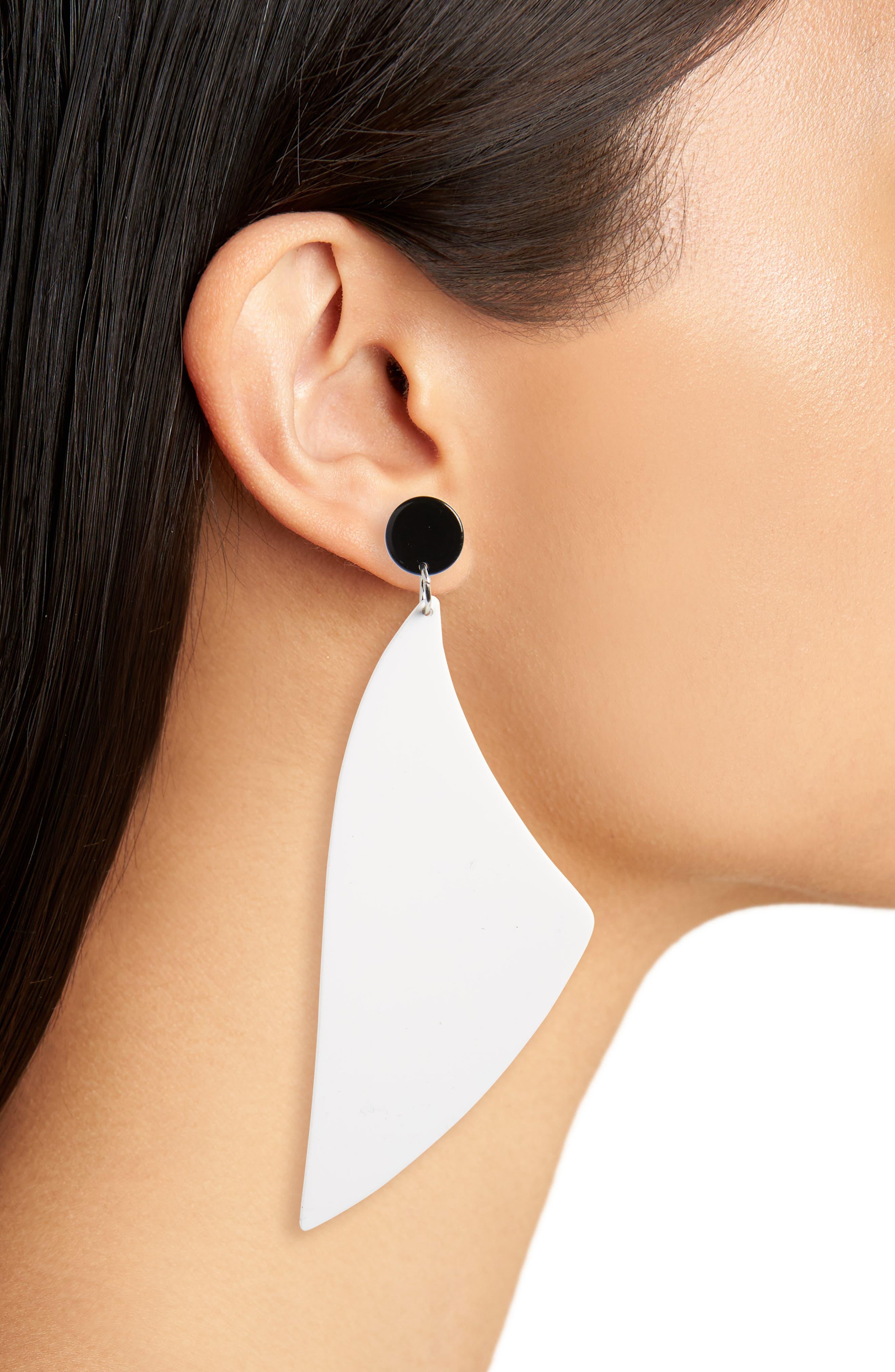 Acrylic Statement Earrings,                             Alternate thumbnail 2, color,                             White