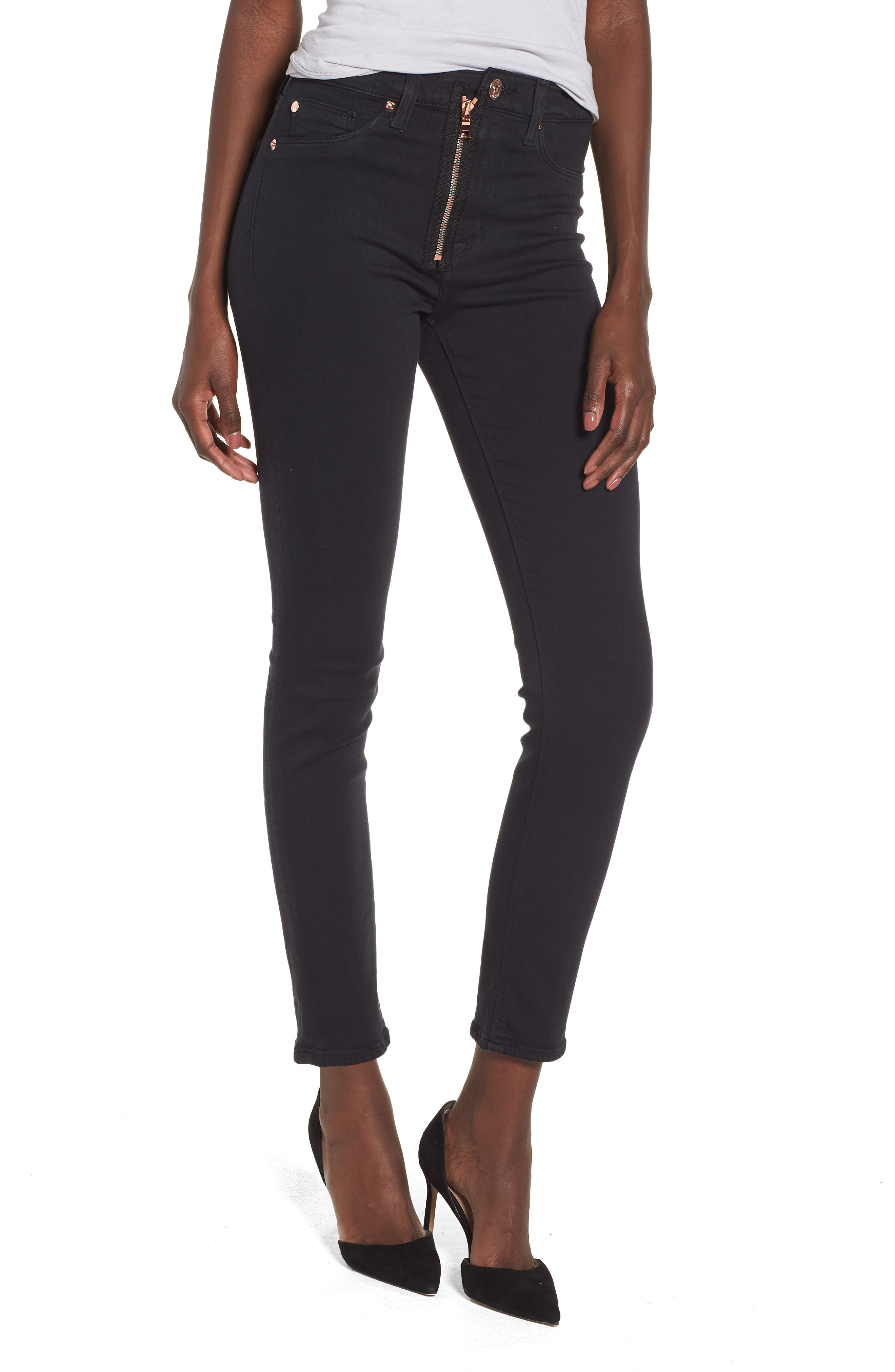 Barbara Exposed Zip High Waist Ankle Skinny Jeans,                         Main,                         color, Maniac