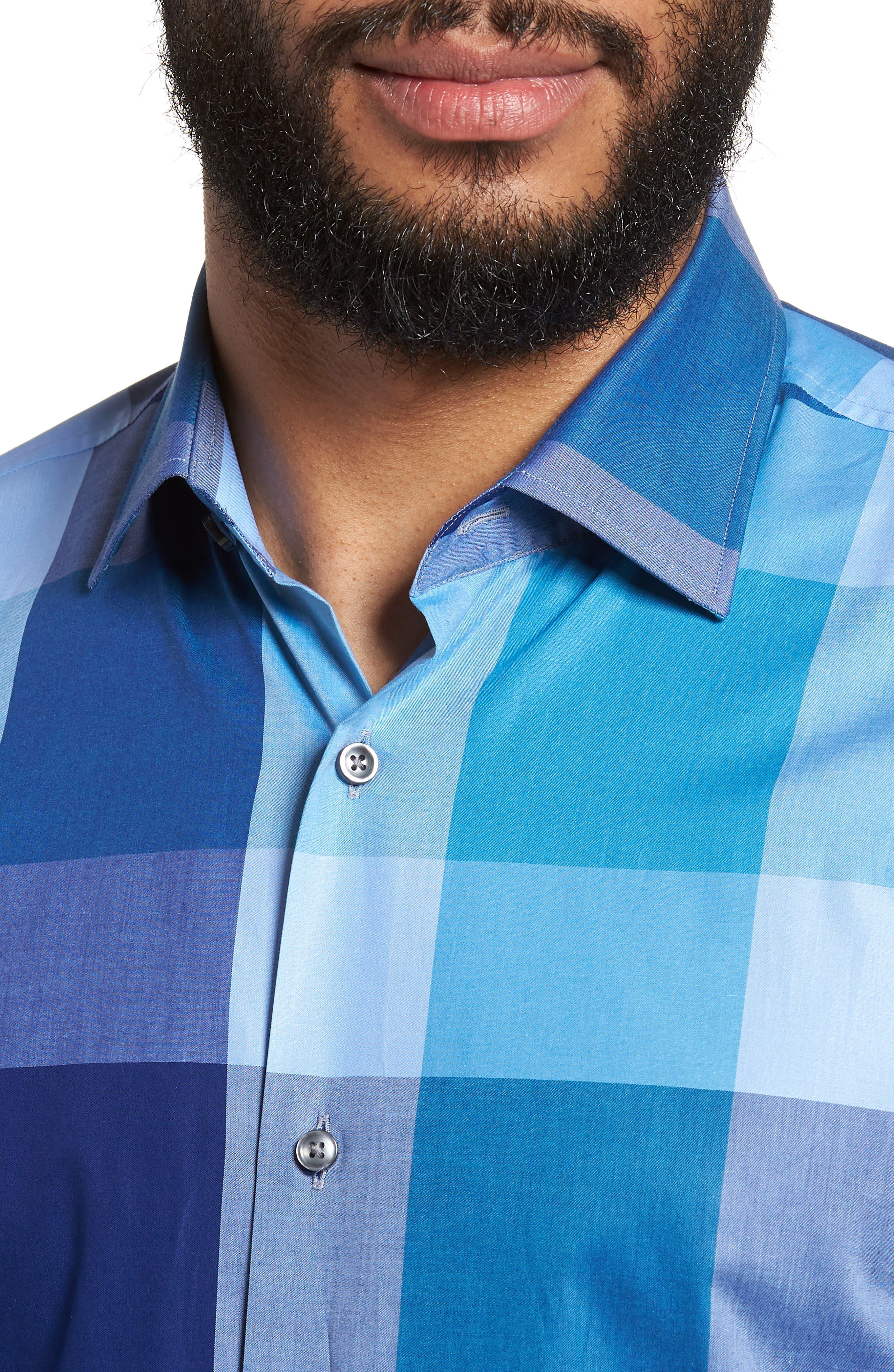 Jenno Slim Fit Check Dress Shirt,                             Alternate thumbnail 2, color,                             Blue