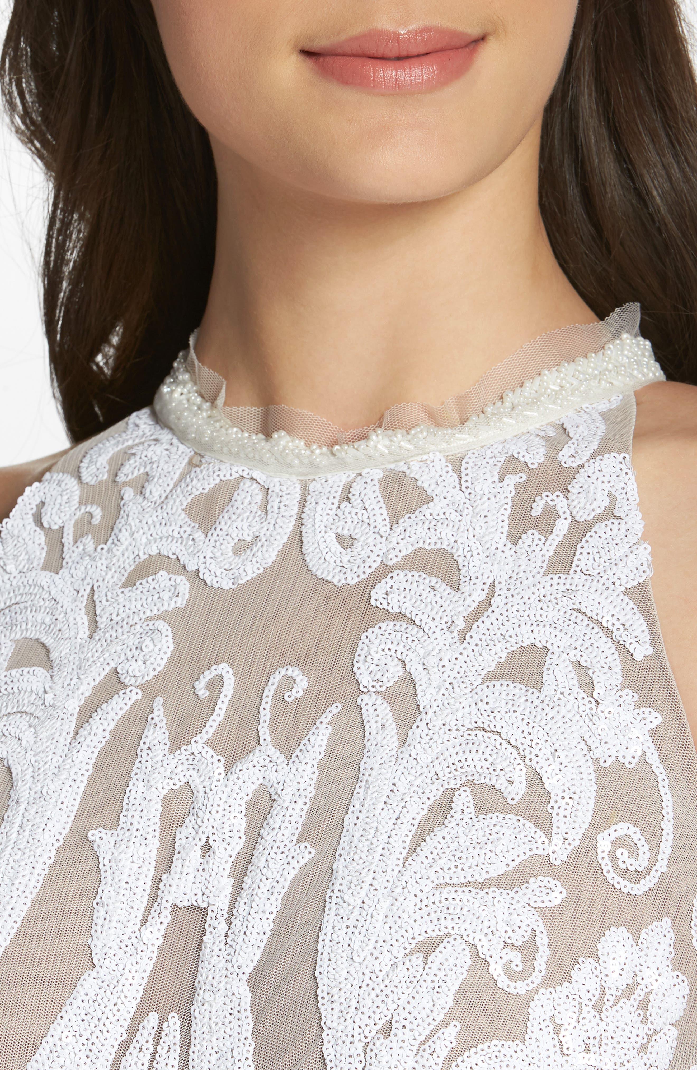 Ester Halter Mermaid Gown,                             Alternate thumbnail 4, color,                             White