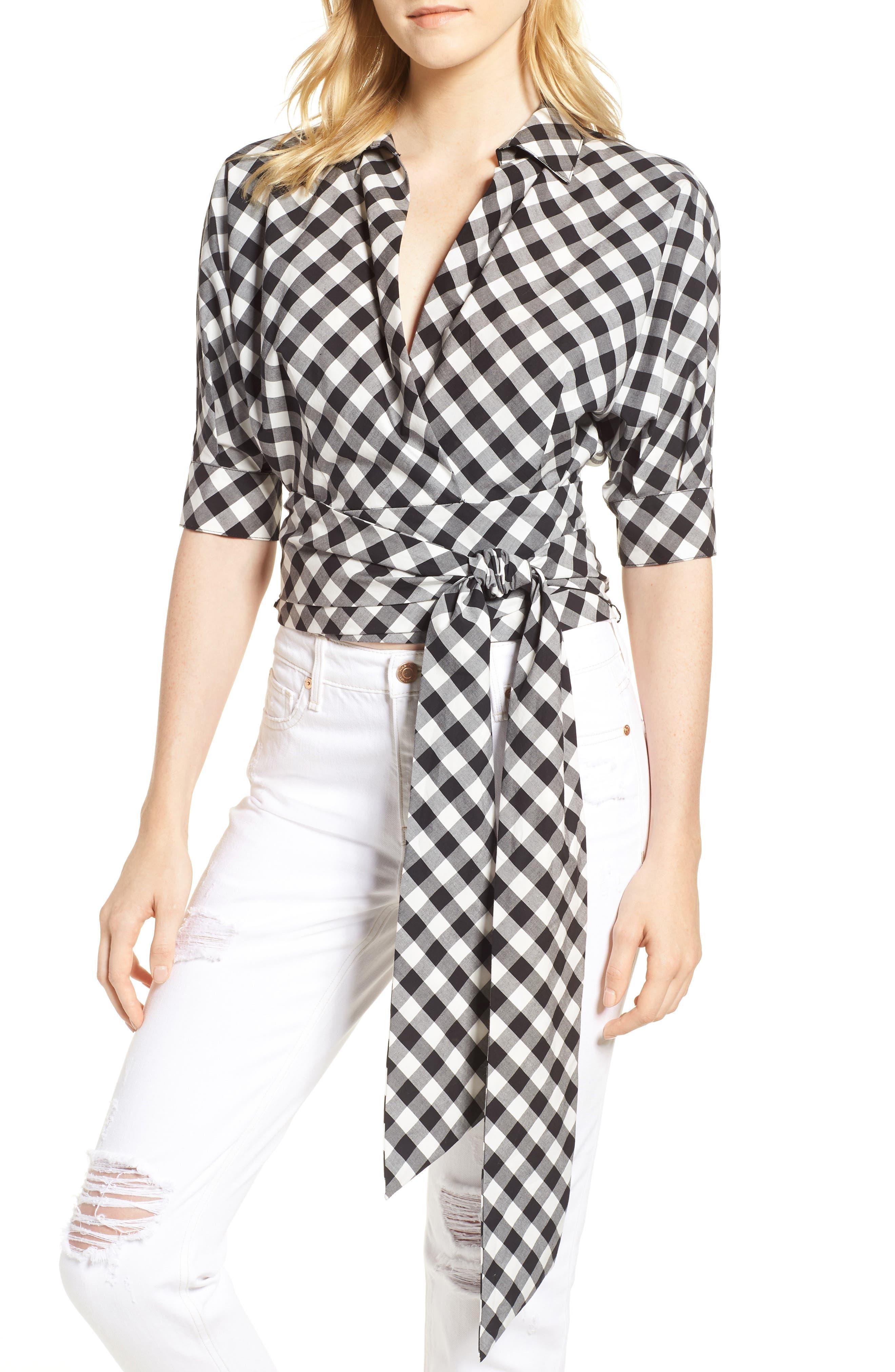 Arietta Sash Tie Wrap Top,                         Main,                         color, Black/ White