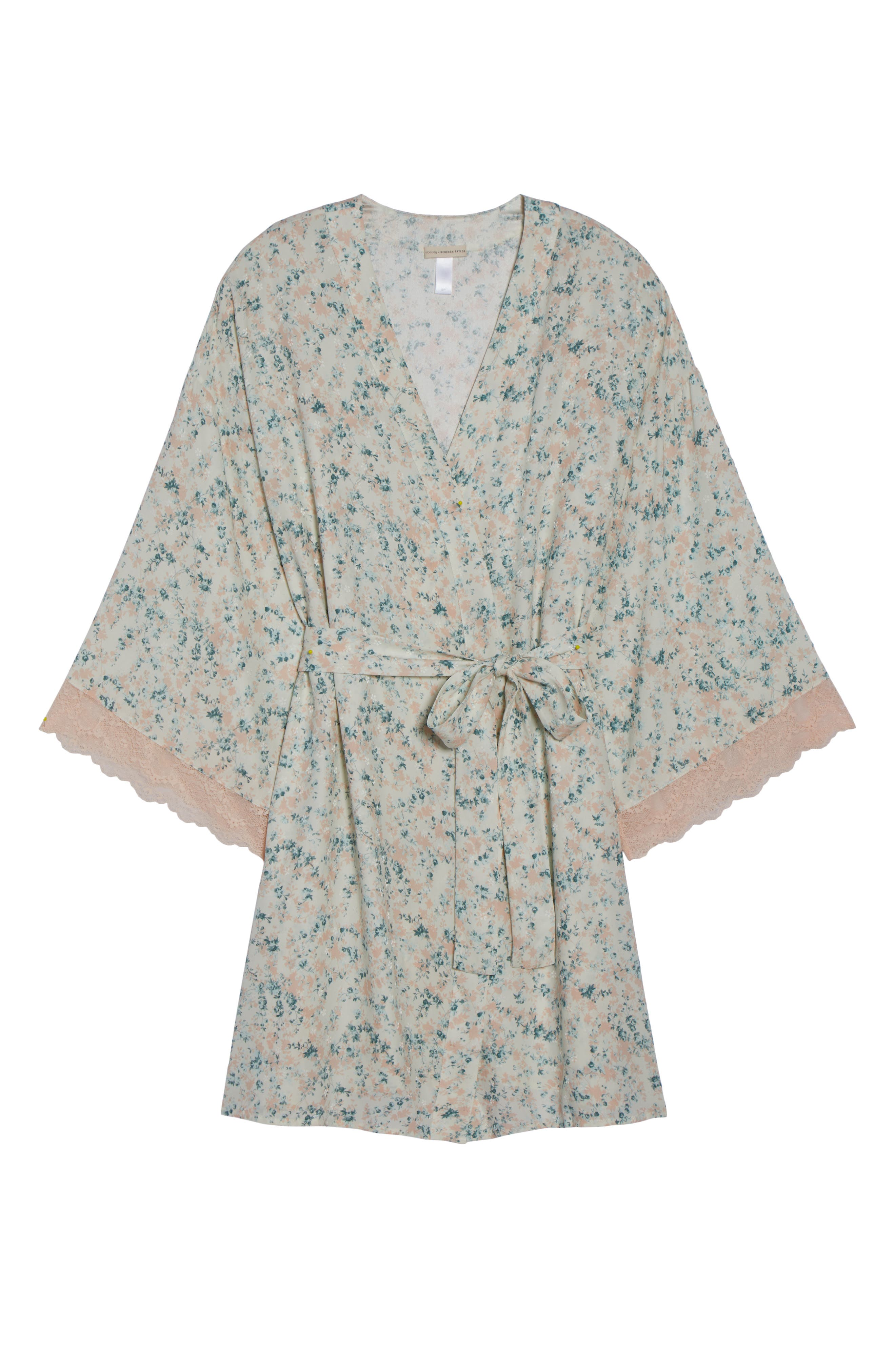 Lily Stretch Silk Short Robe,                             Alternate thumbnail 4, color,                             Ivory Floral Print