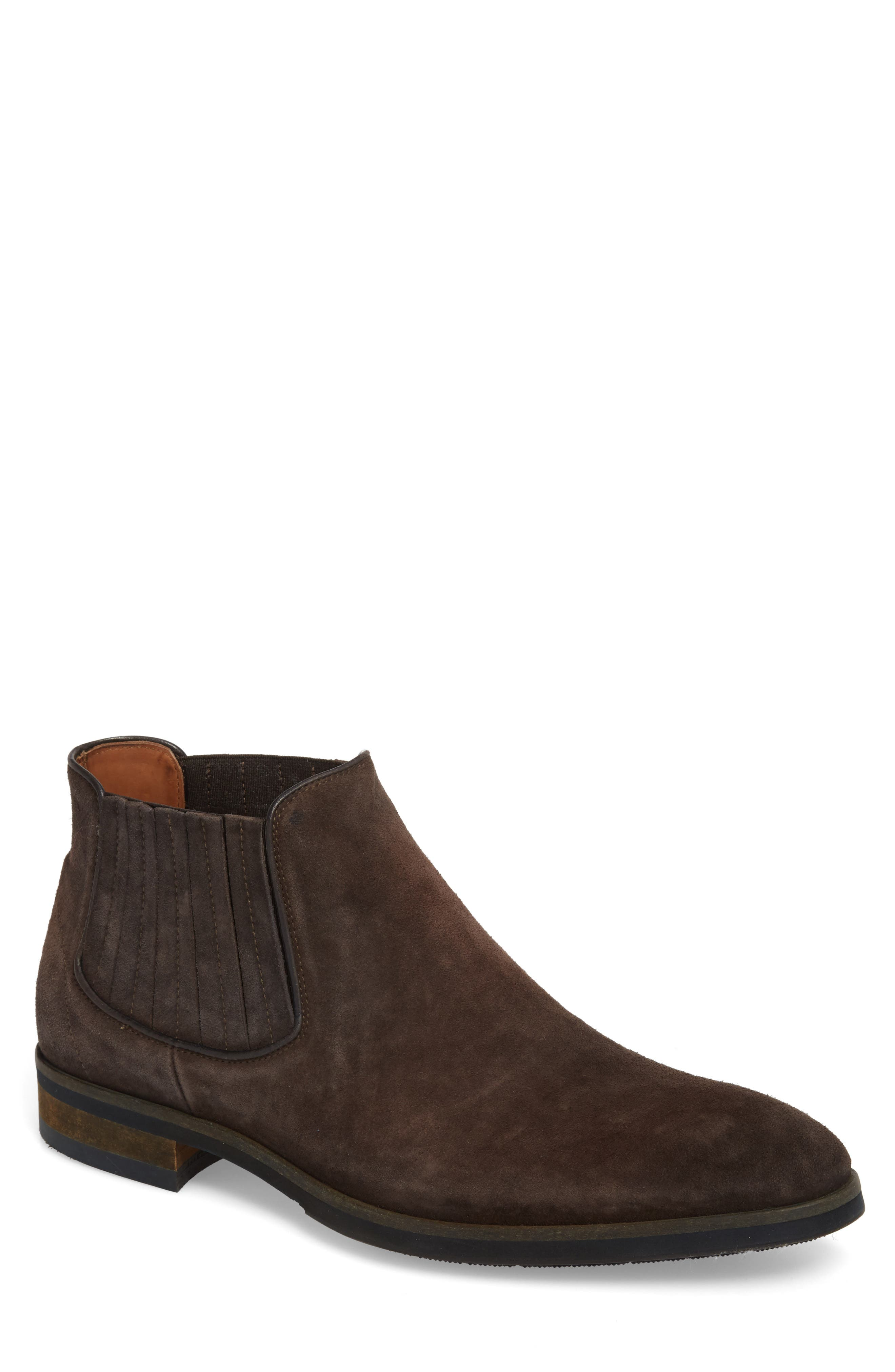 Gus Mid Top Chelsea Boot,                         Main,                         color, Coffee Oily Suede
