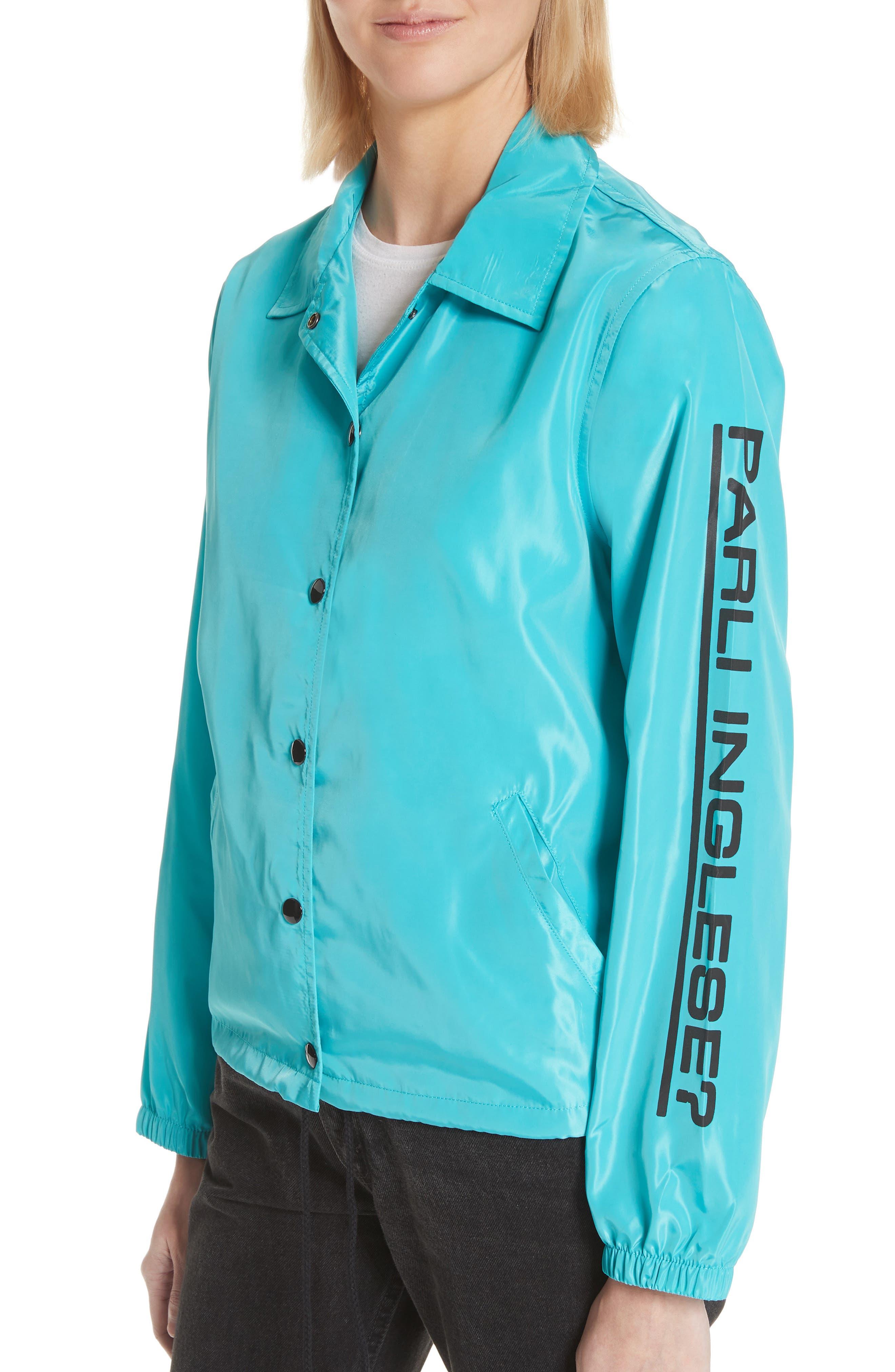 Parli Inglese Coach Jacket,                             Alternate thumbnail 4, color,                             Turquoise