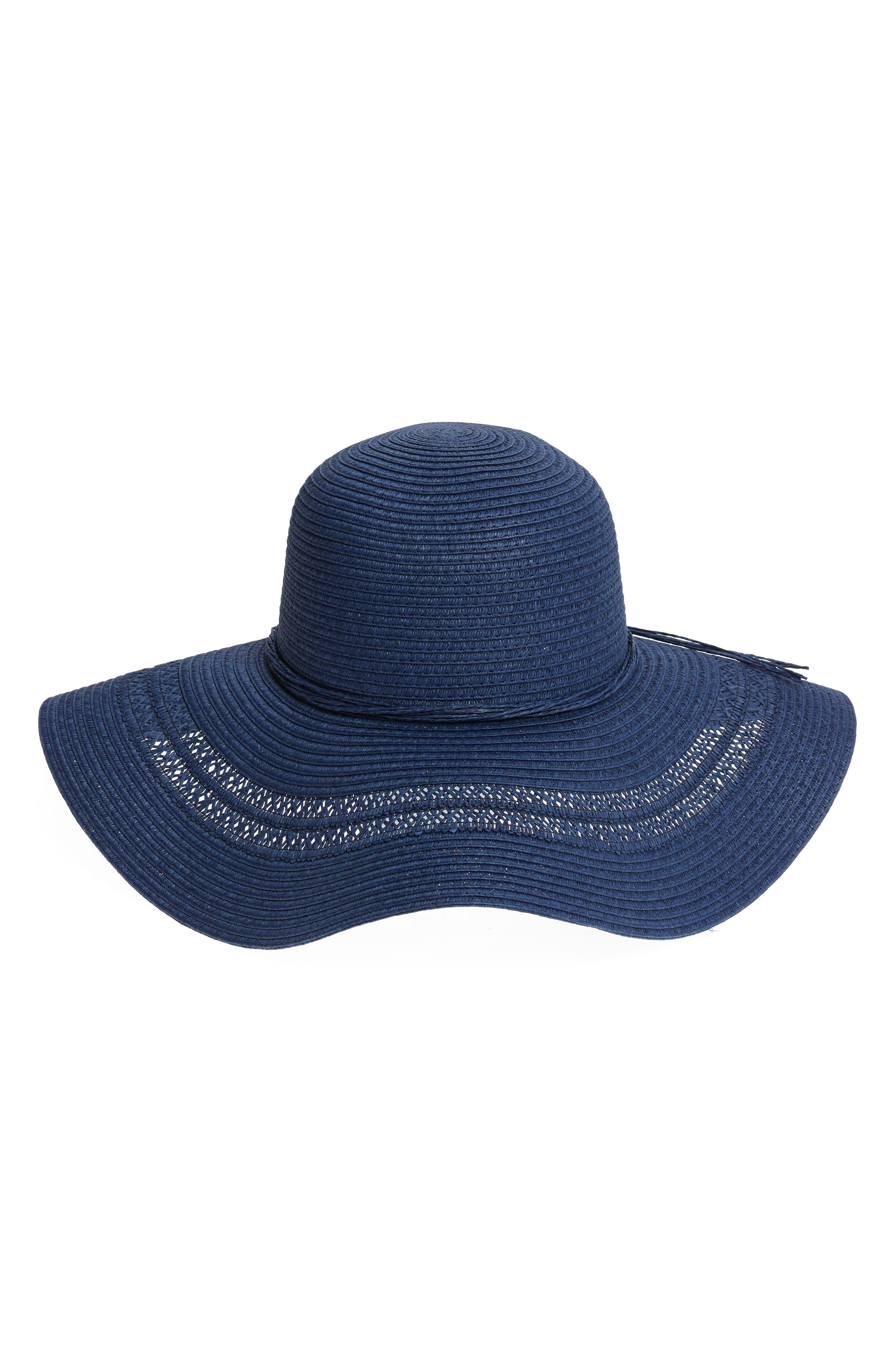 FITS Crochet Inset Floppy Straw Hat