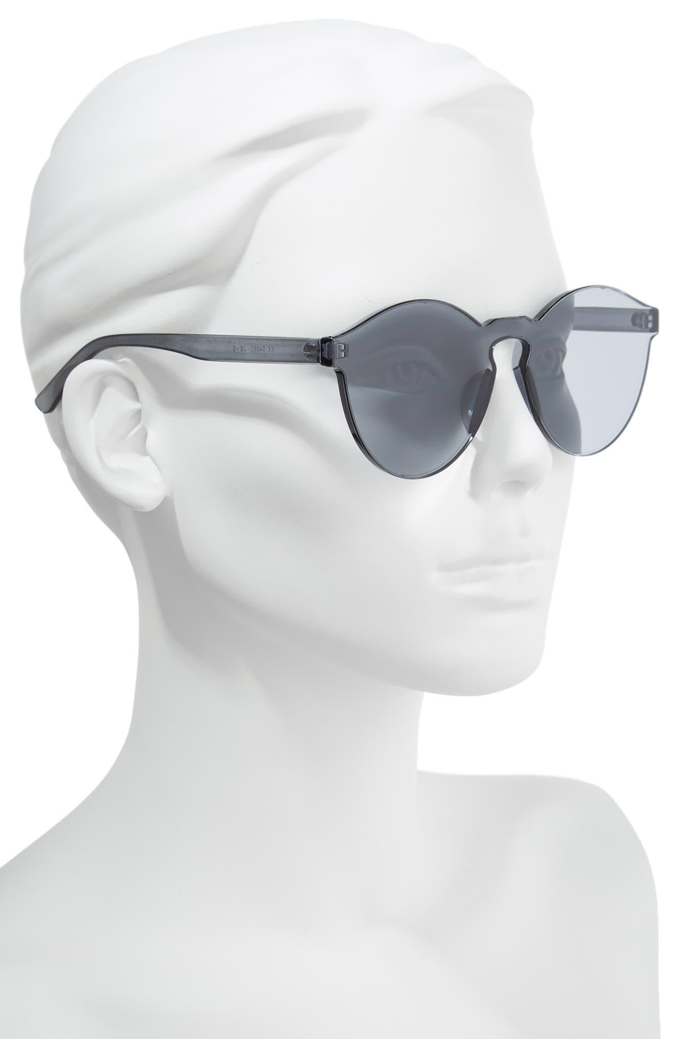 56mm Rimless Round Sunglasses,                             Alternate thumbnail 2, color,                             Black