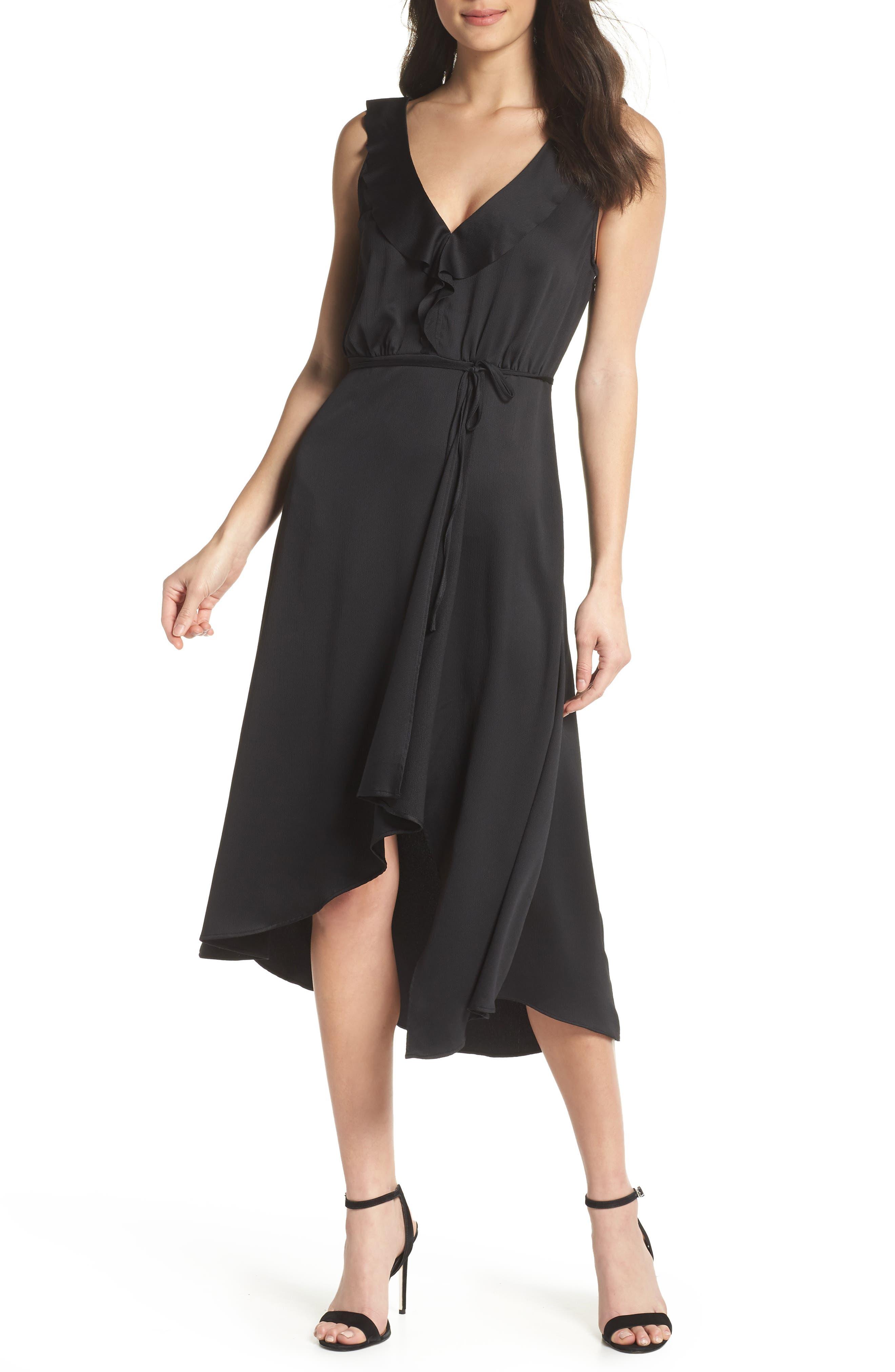 Maudie Ruffle Midi Dress,                             Main thumbnail 1, color,                             Black