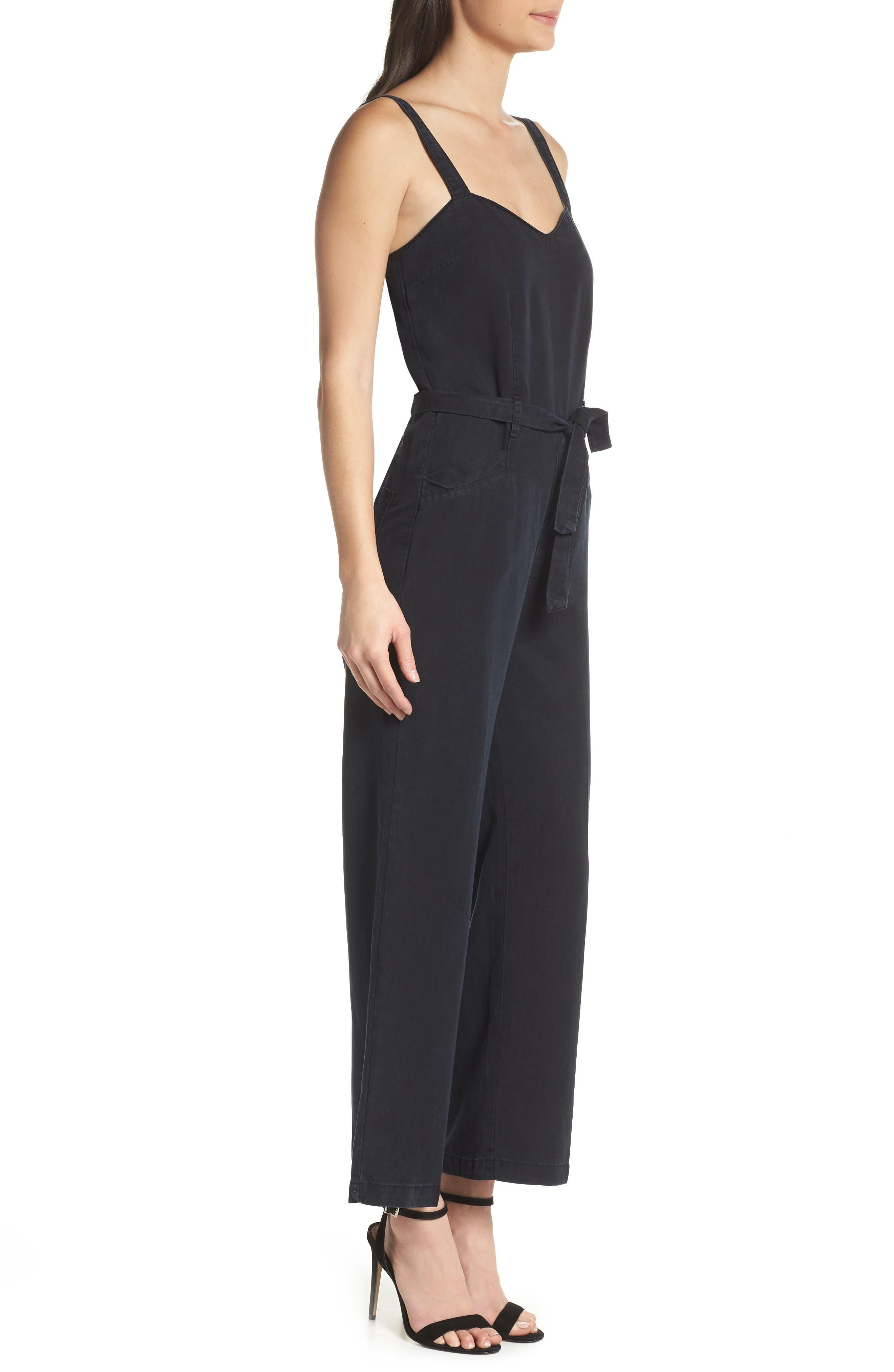 Emma Tie-Waist Jumpsuit,                             Alternate thumbnail 3, color,                             Black Pearl