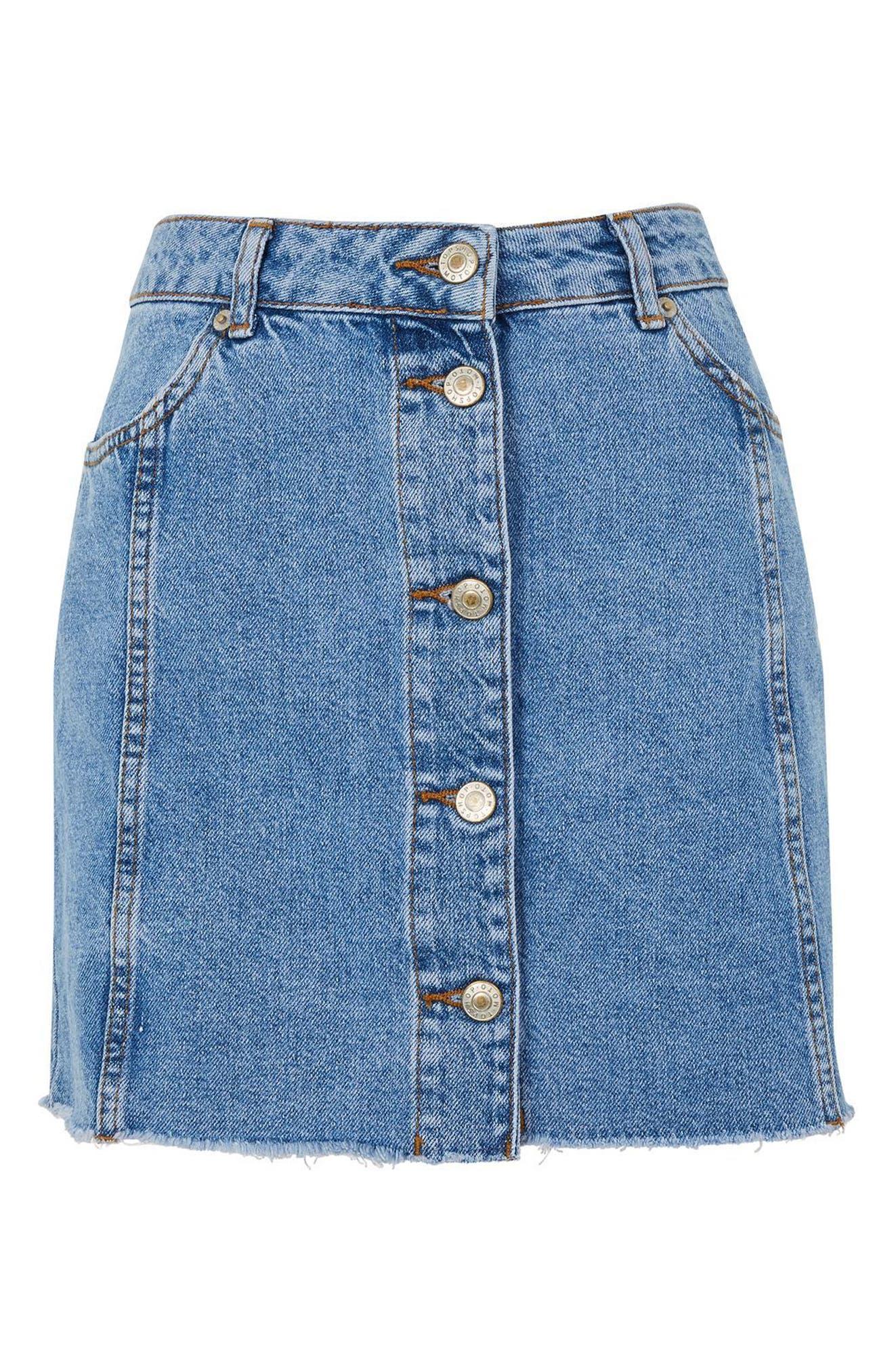 Button Denim Miniskirt,                             Alternate thumbnail 4, color,                             Light Denim