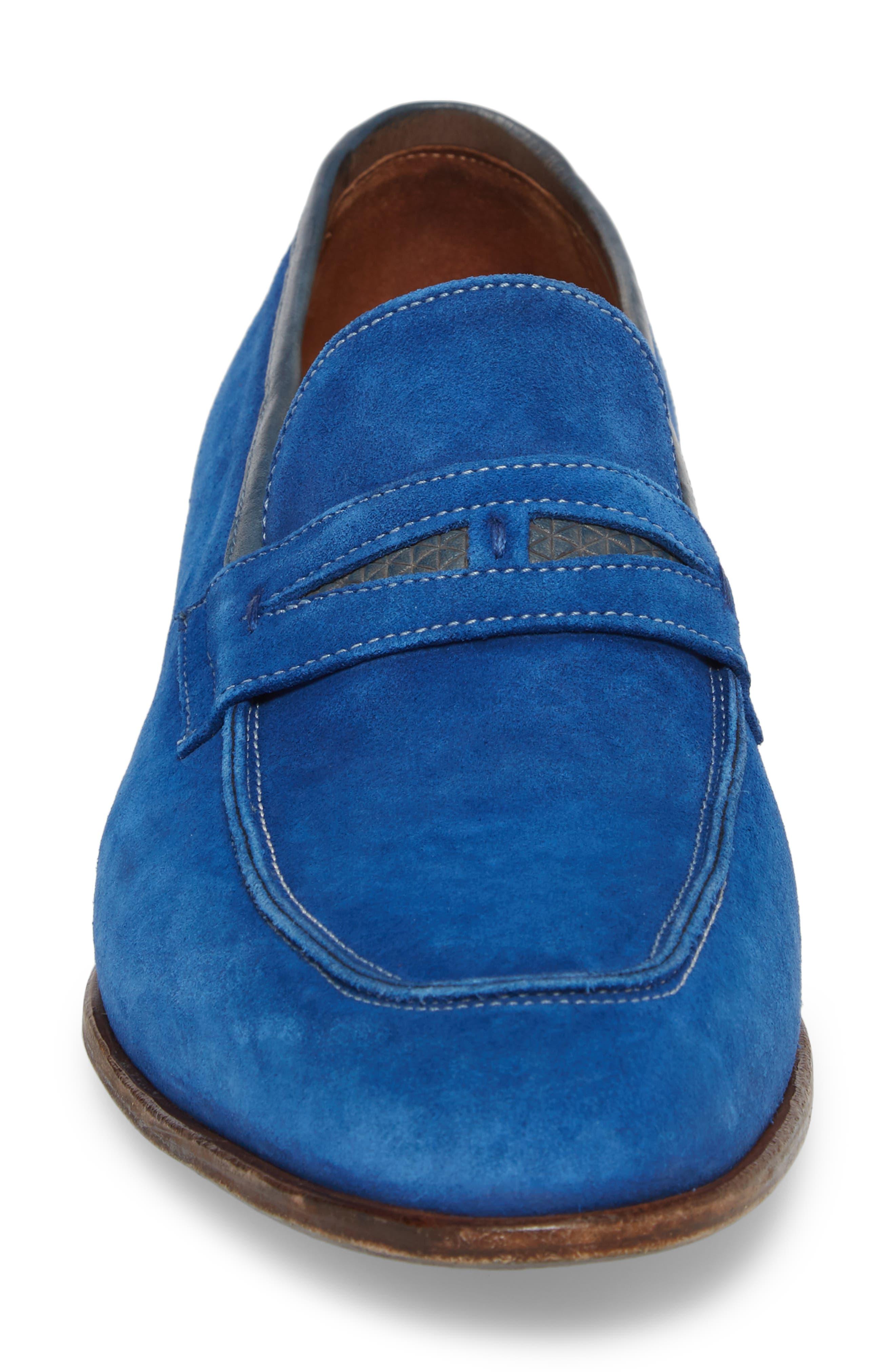 Lex Apron Toe Penny Loafer,                             Alternate thumbnail 4, color,                             Blue Suede
