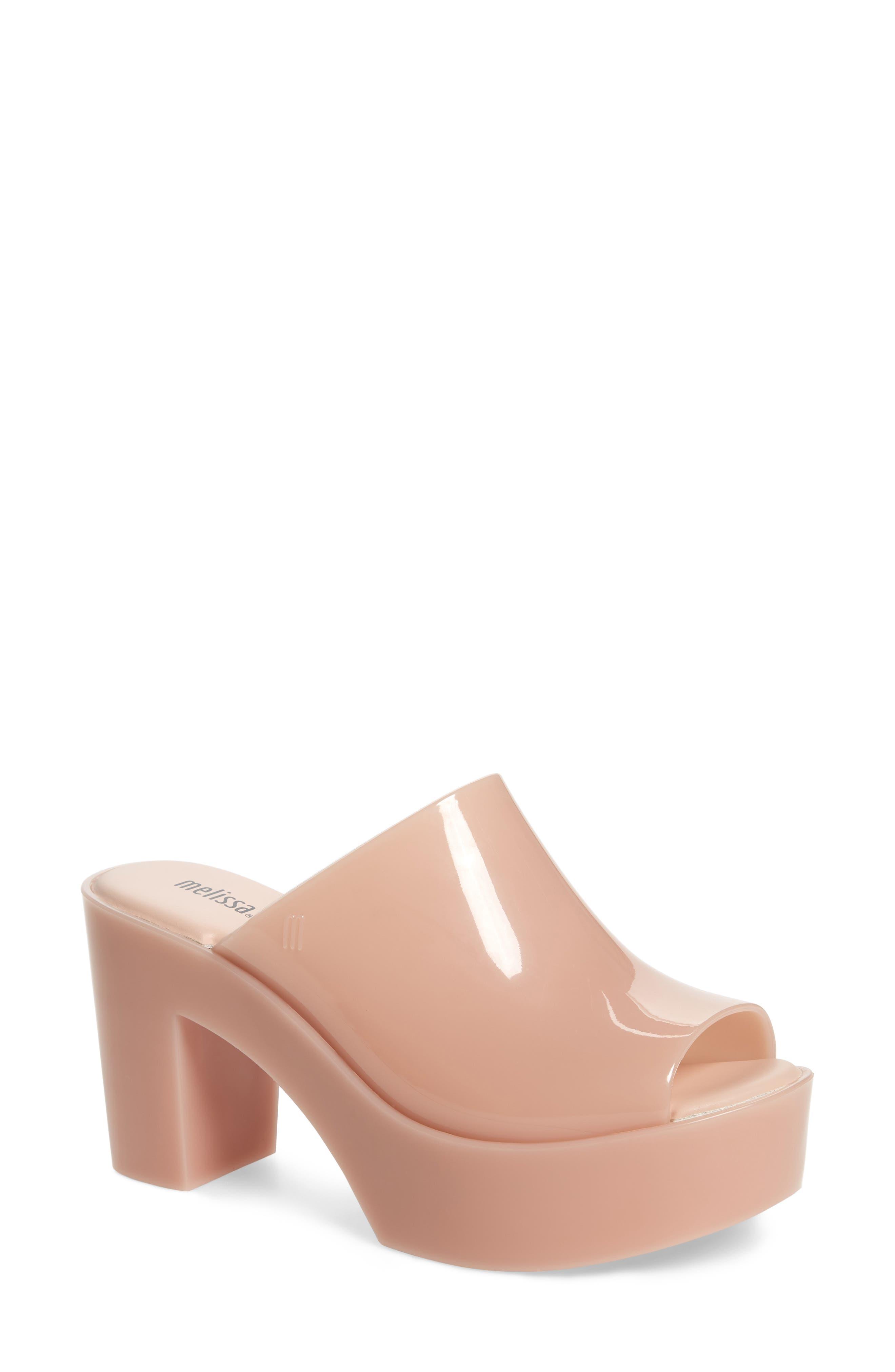 Open Toe Platform Mule in Light Pink