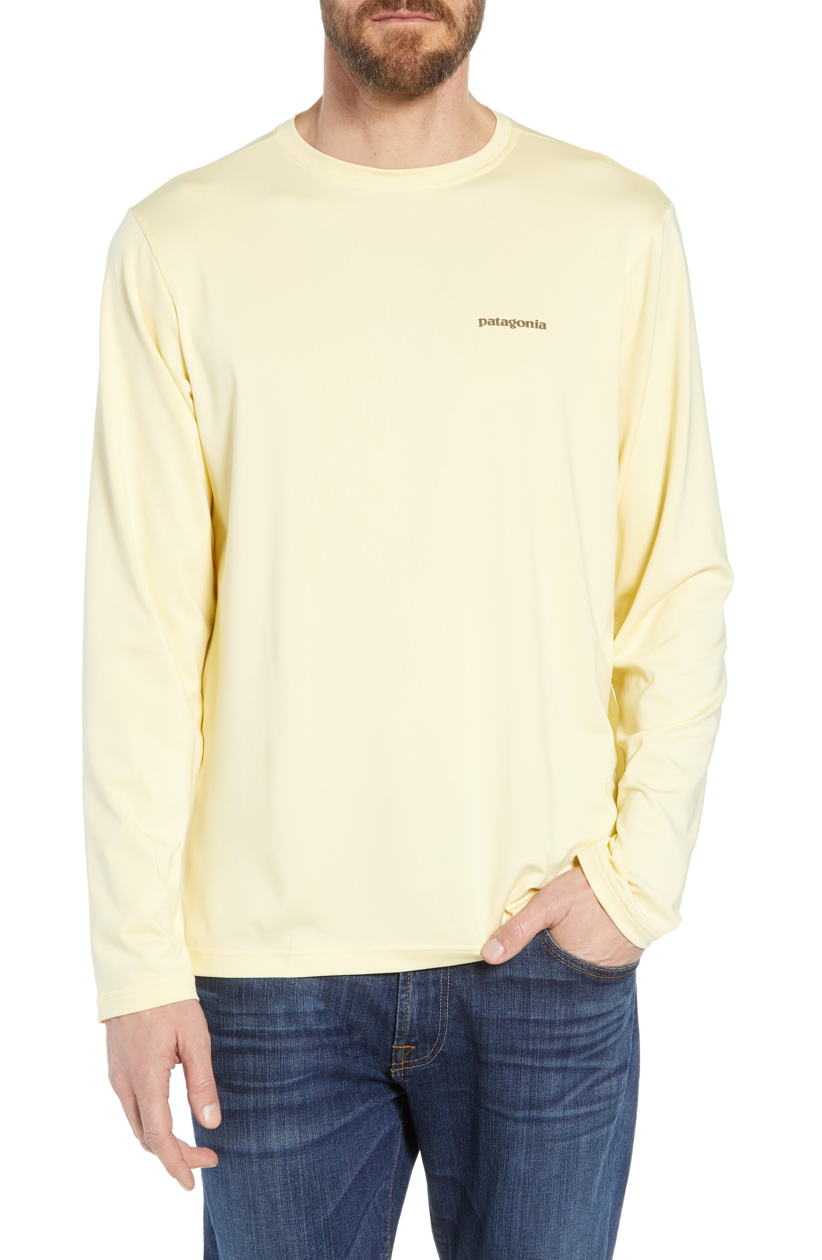 Tech Fish Graphic Long Sleeve T-Shirt,                         Main,                         color, Lucky Fly/ Crest Yellow