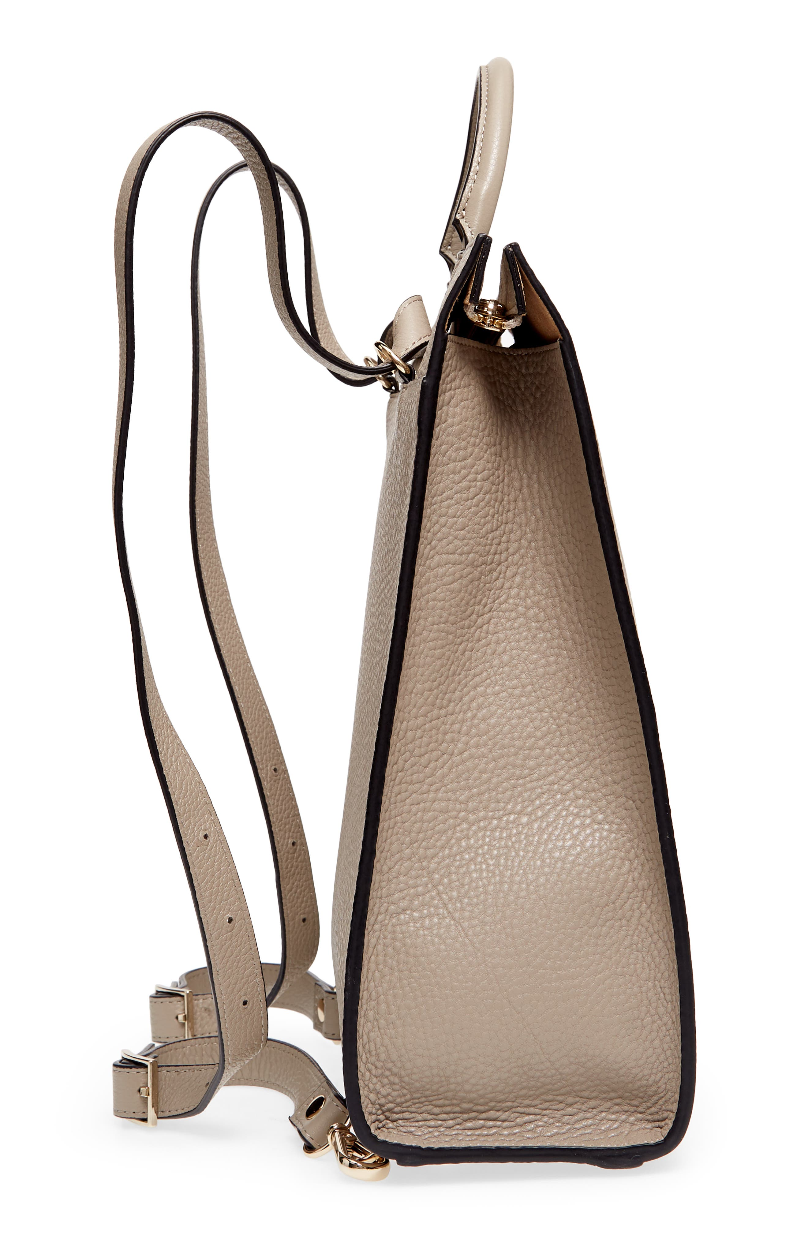 Arc Leather Backpack,                             Alternate thumbnail 5, color,                             Taupe