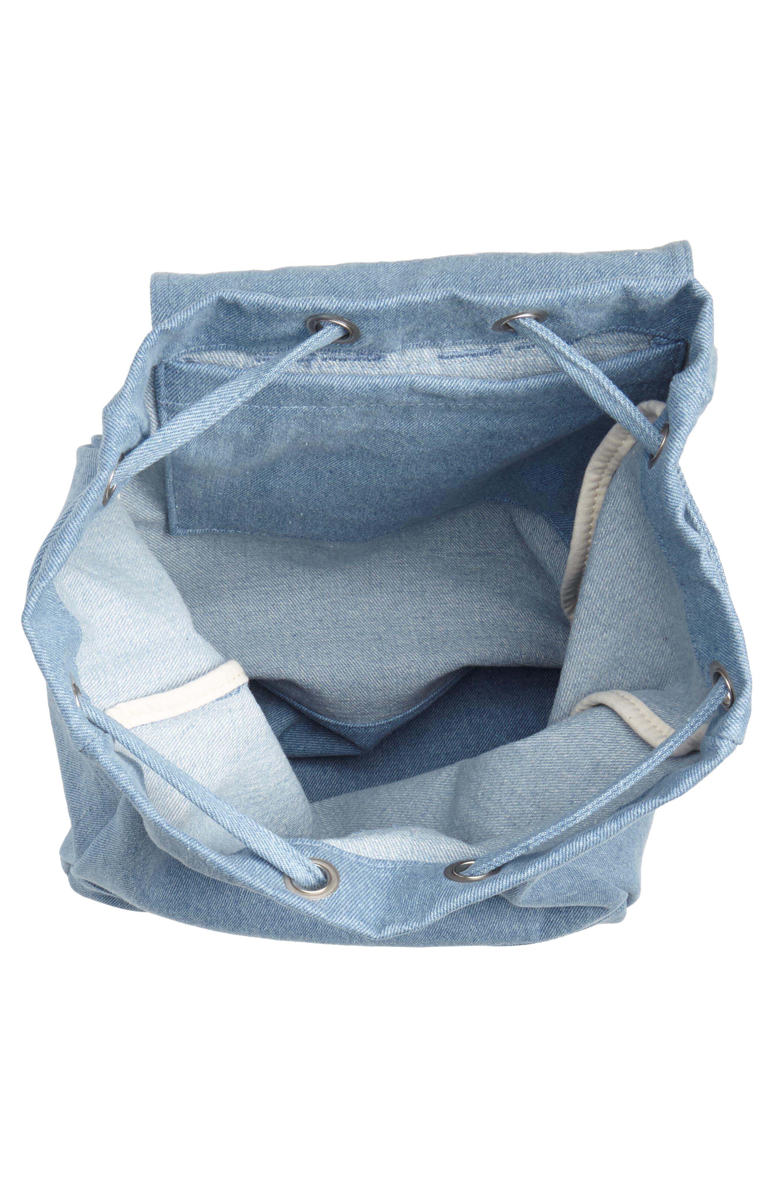 Drawstring Canvas Backpack,                             Alternate thumbnail 4, color,                             Washed Denim