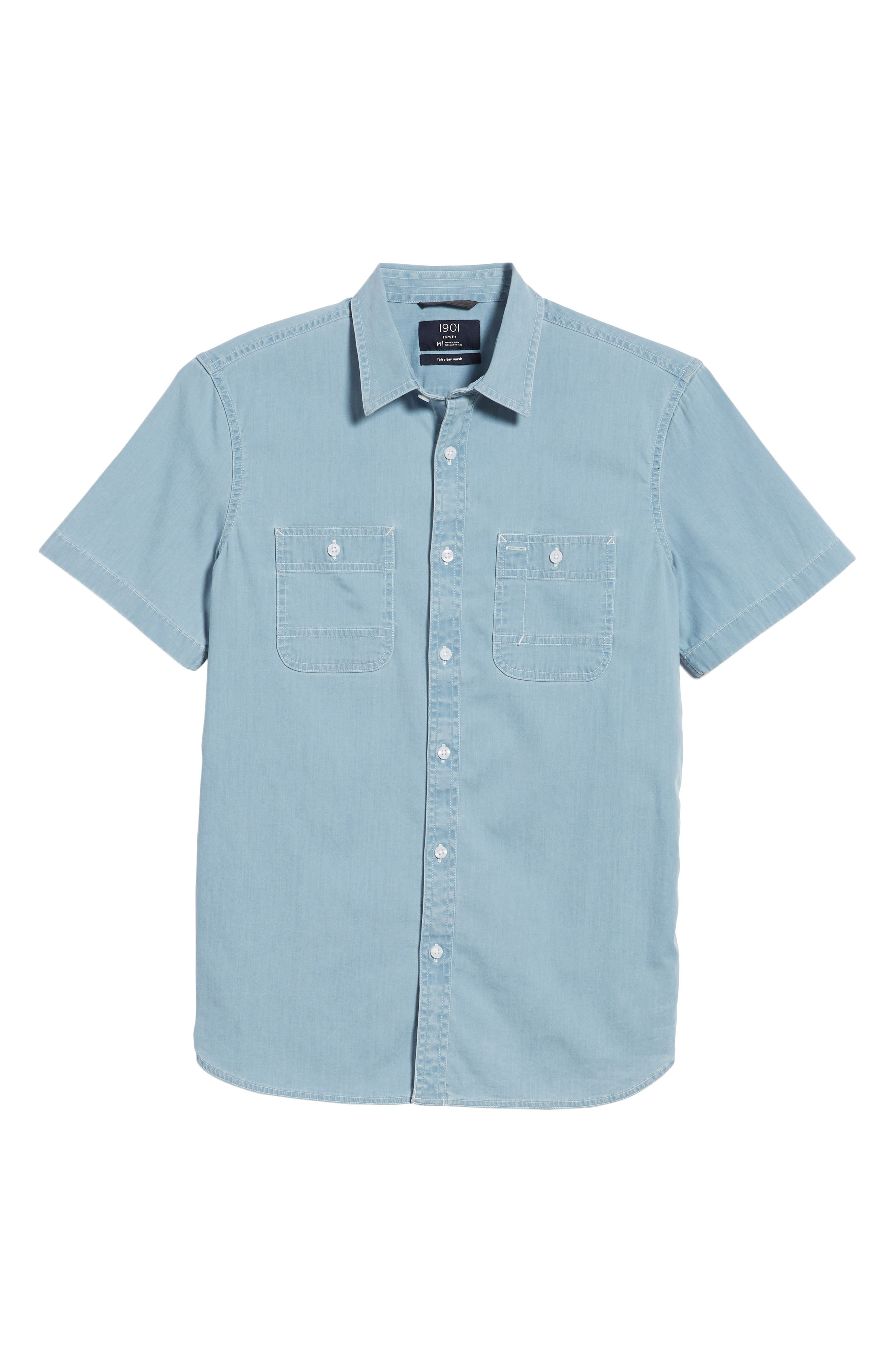 Workwear Trim Fit Stretch Denim Shirt,                             Alternate thumbnail 6, color,                             Blue Light Chambray