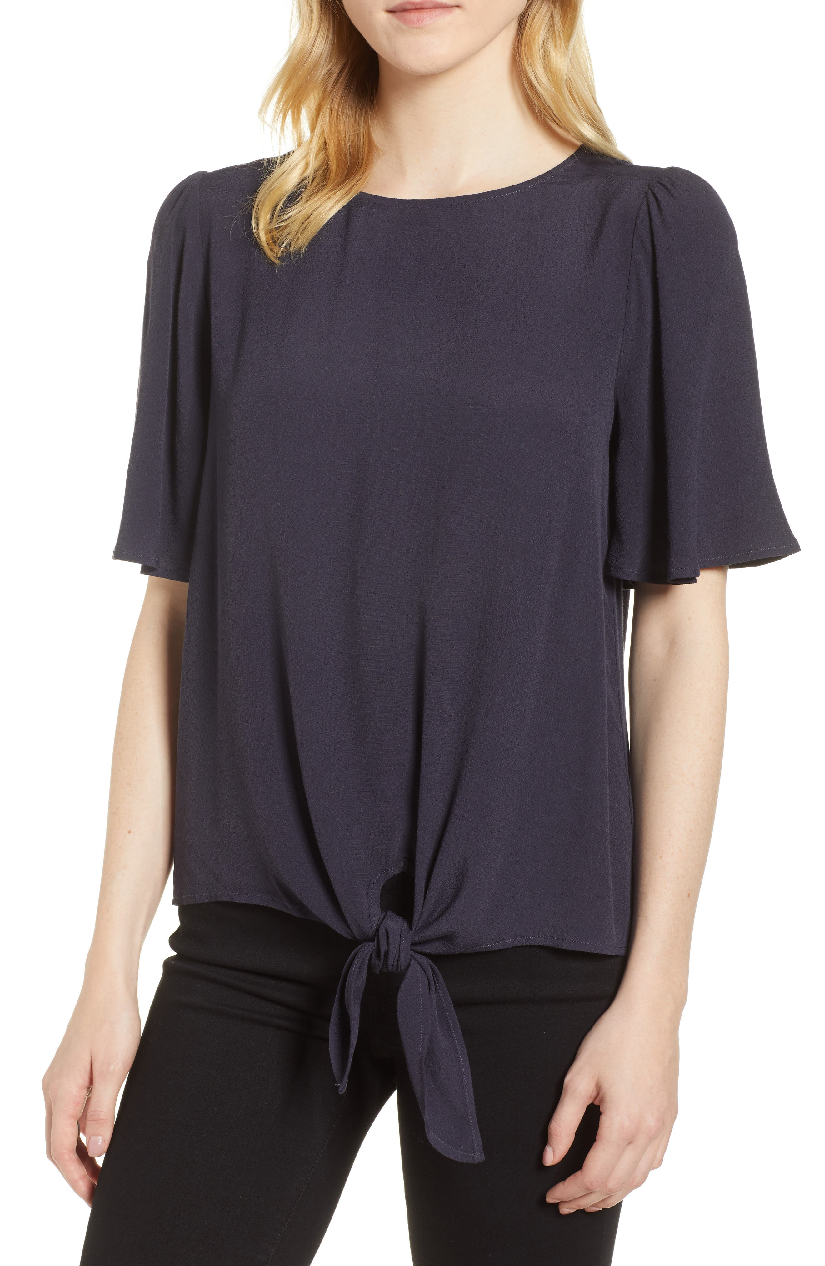 Ruffle Tie Front Top,                             Main thumbnail 1, color,                             Navy Well