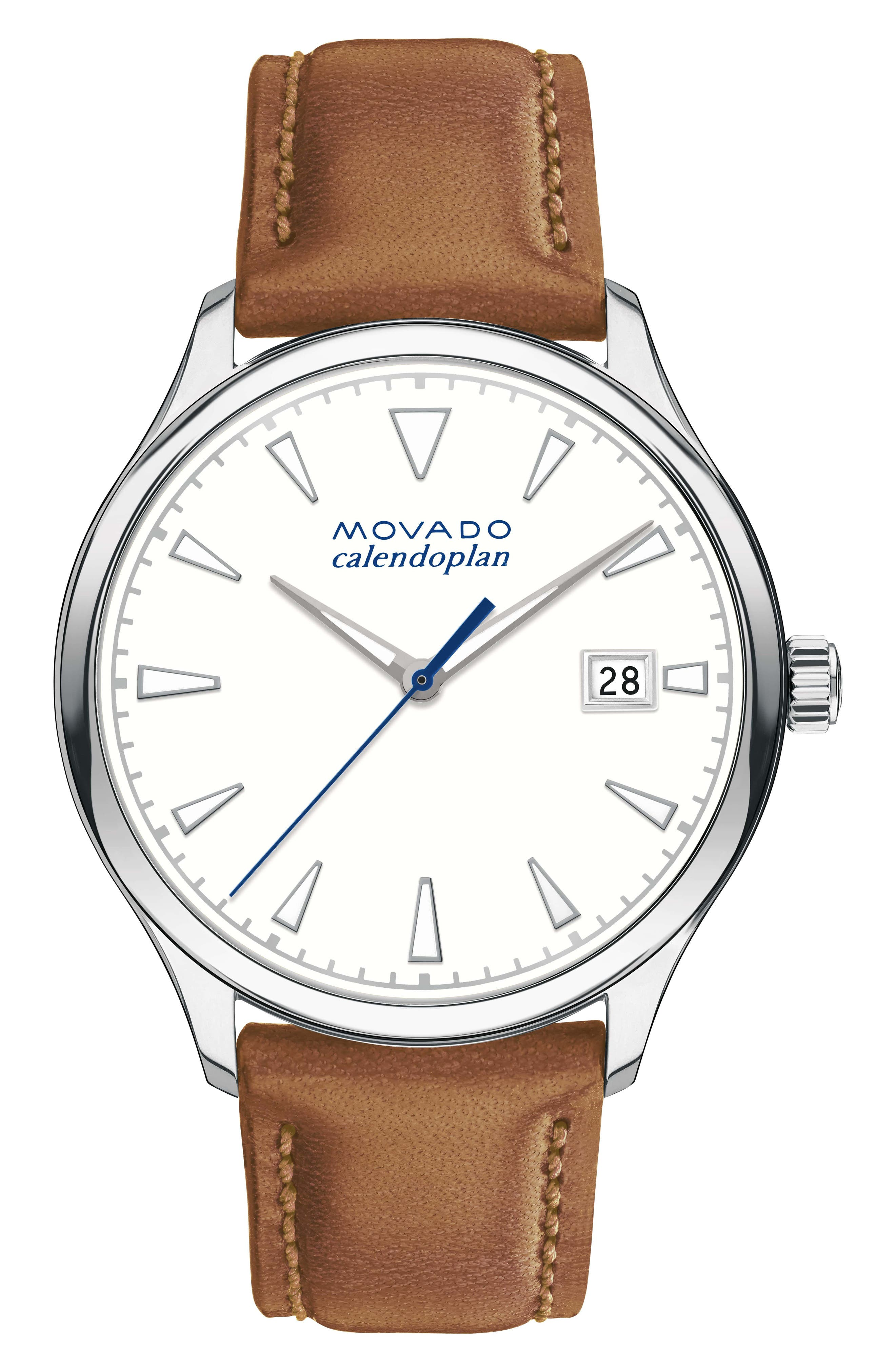 Heritage Leather Strap Watch, 36mm,                         Main,                         color, Brown/ White/ Silver