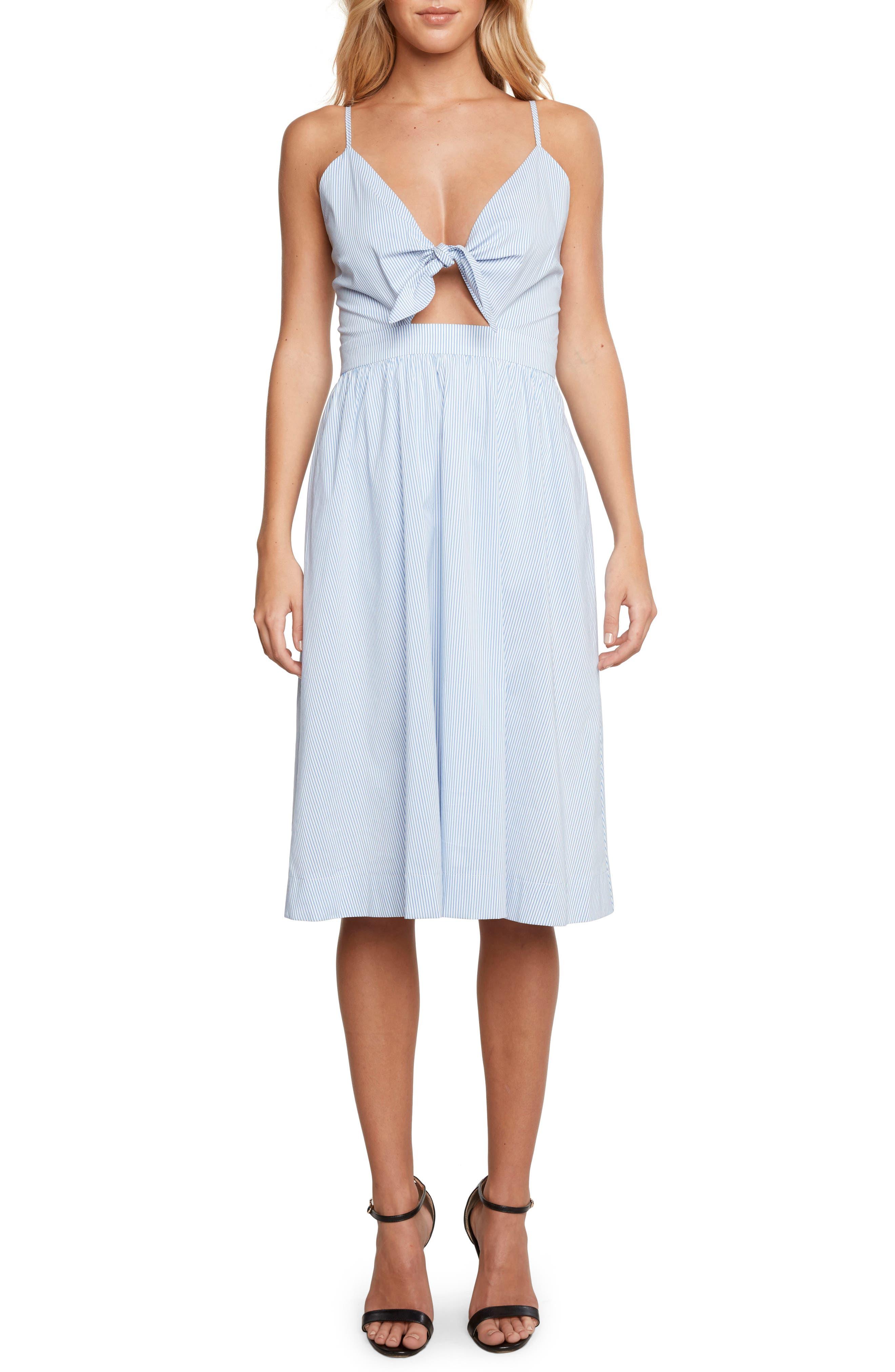 Brenda Tie Front Dress,                             Main thumbnail 1, color,                             Chambray