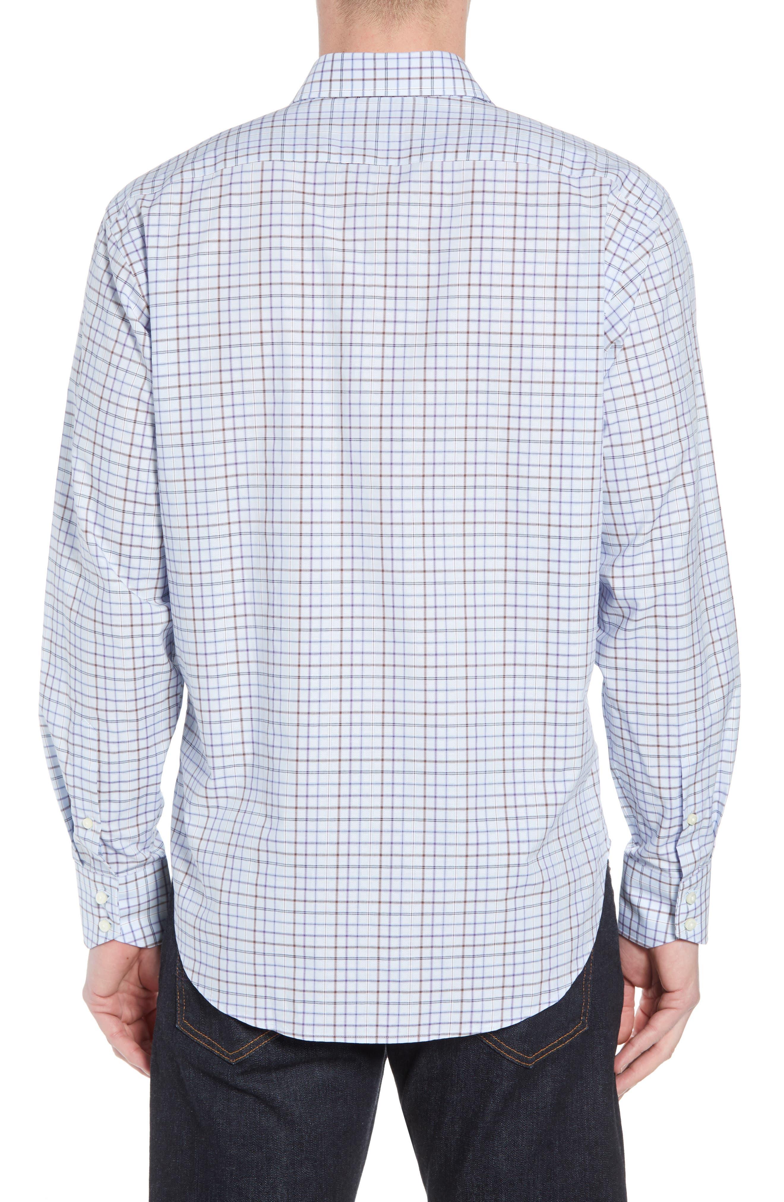 Regular Fit Windowpane Sport Shirt,                             Alternate thumbnail 2, color,                             Purple
