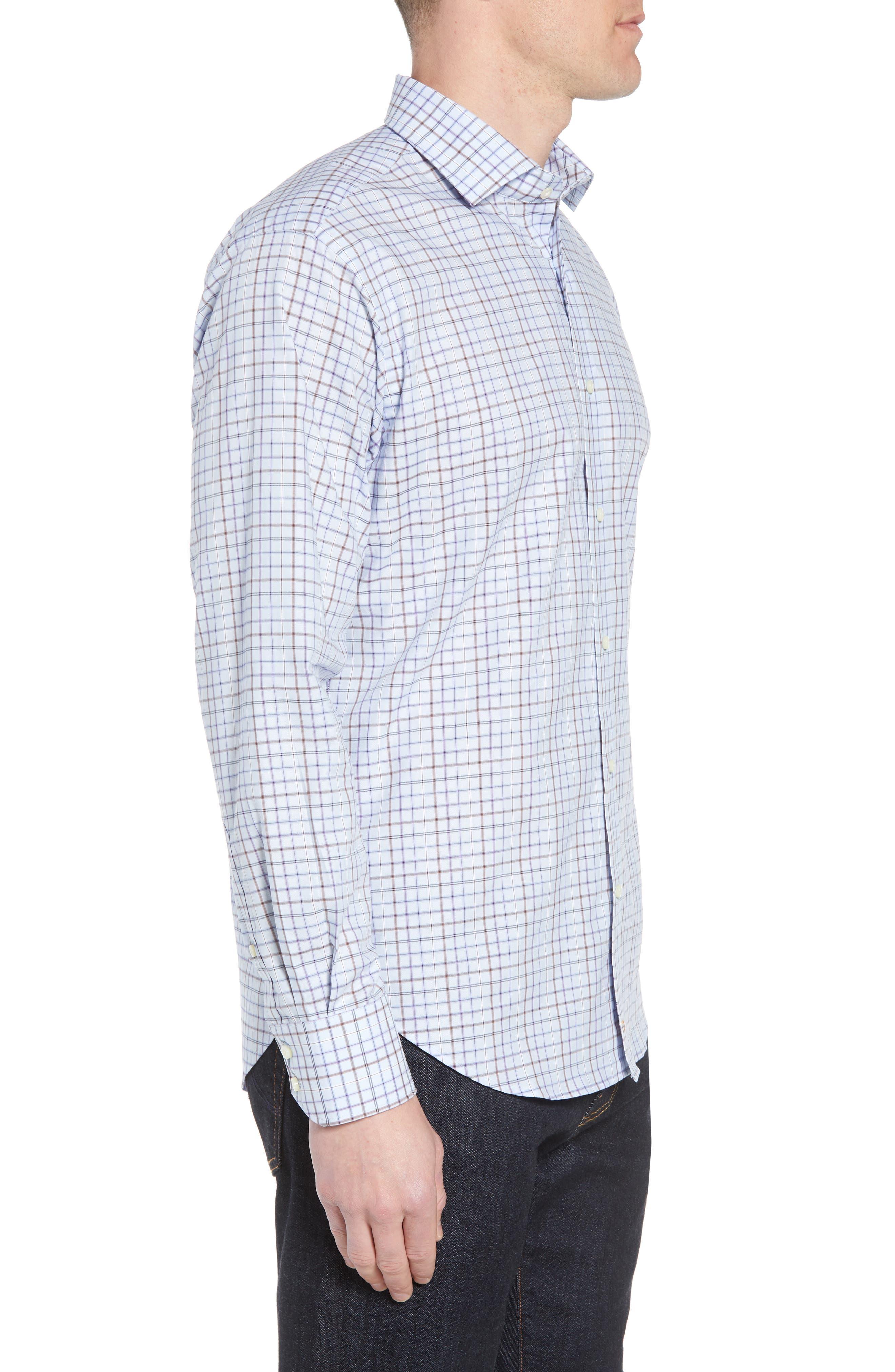 Regular Fit Windowpane Sport Shirt,                             Alternate thumbnail 3, color,                             Purple