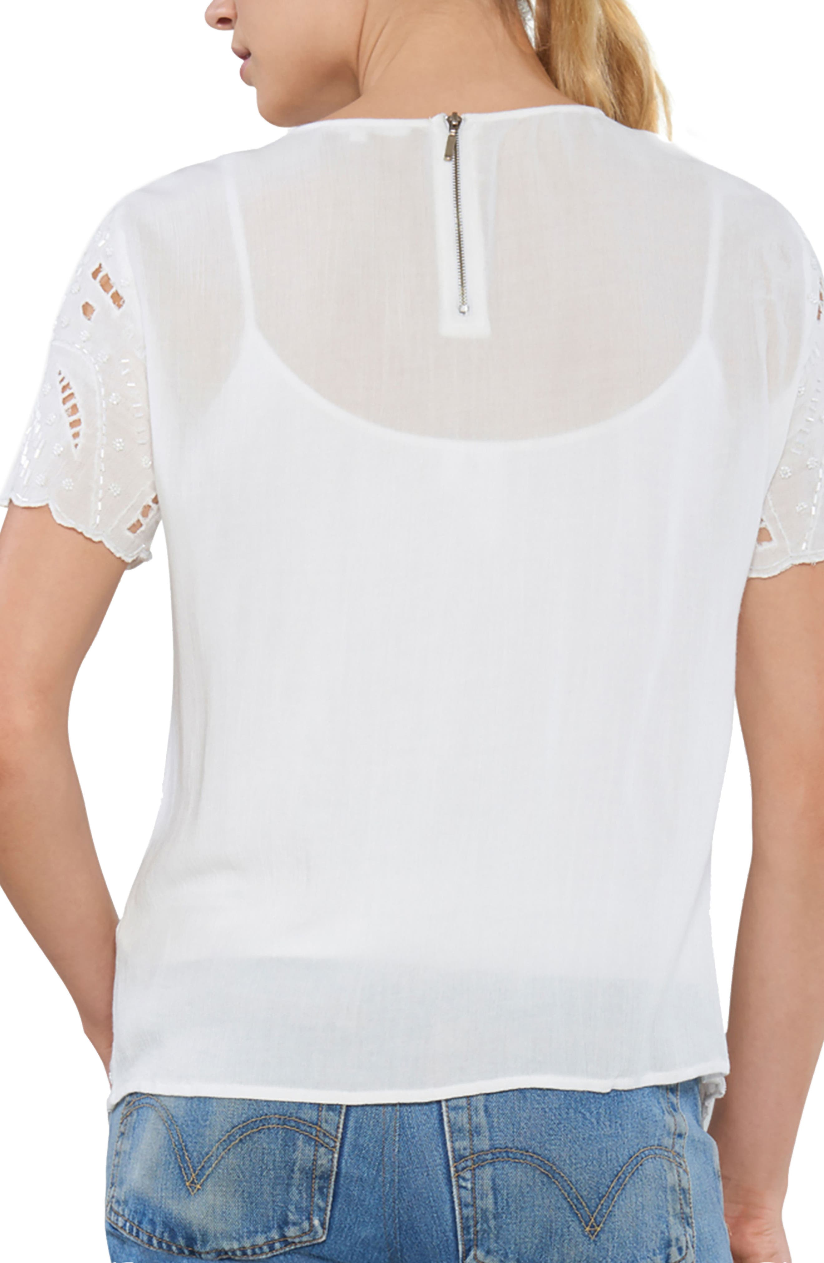 Embellished Cutout Tee,                             Alternate thumbnail 2, color,                             Ivory