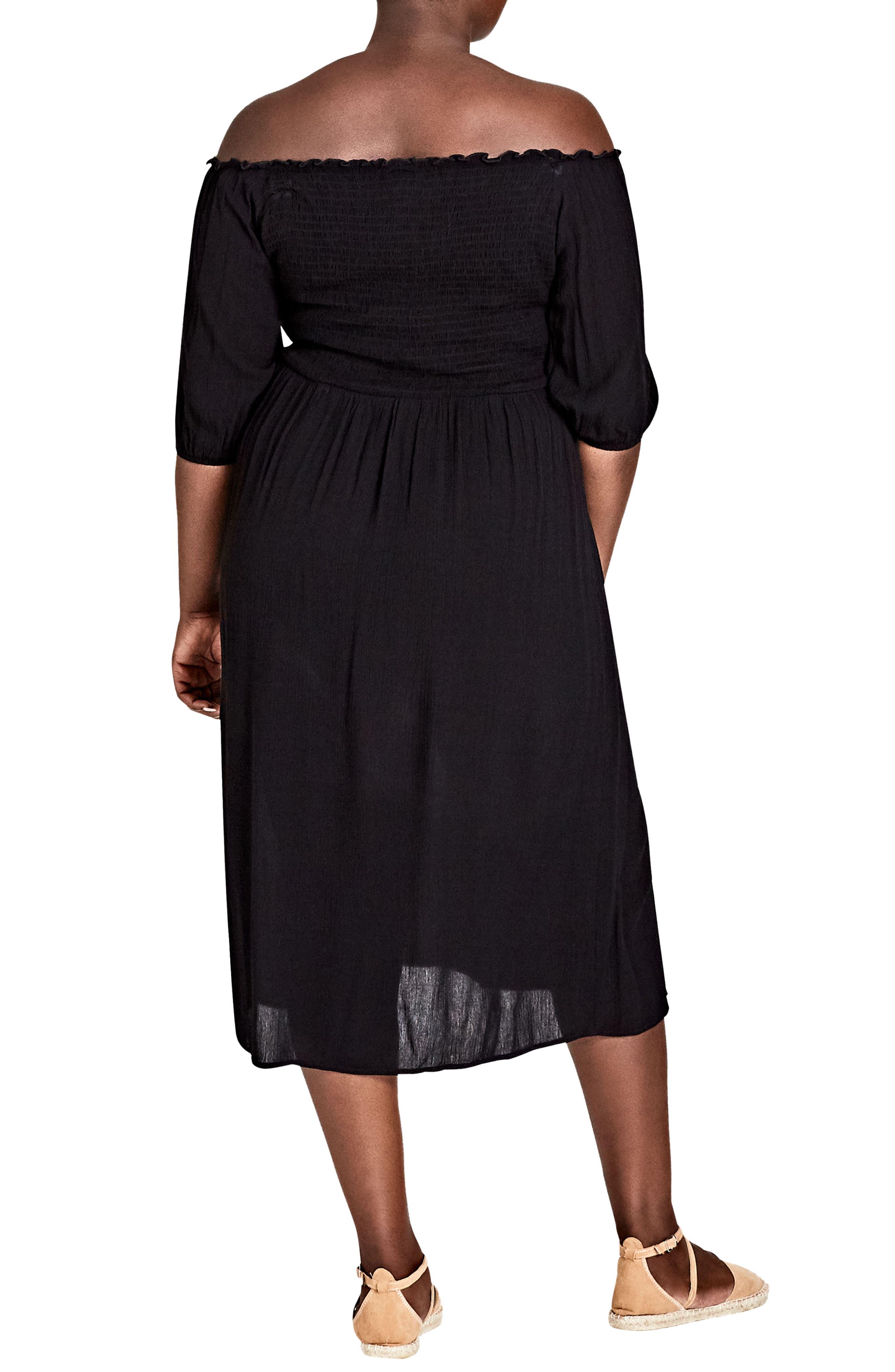 Island Holiday Midi Dress,                             Alternate thumbnail 2, color,                             Black