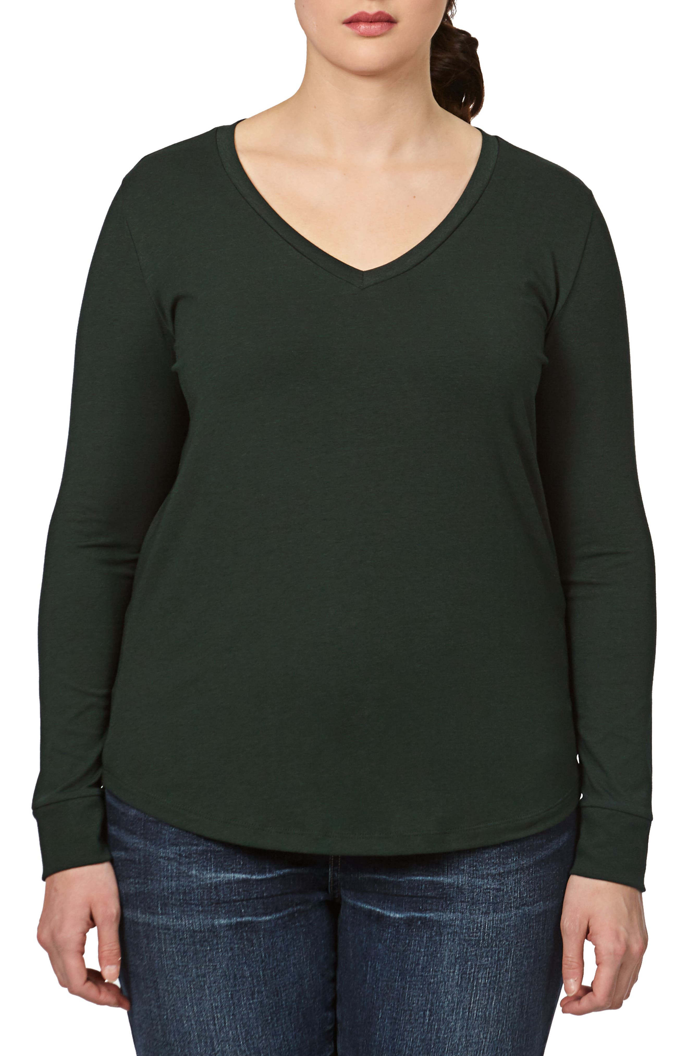 Long Sleeve V-Rex Tee,                         Main,                         color, Forest Green