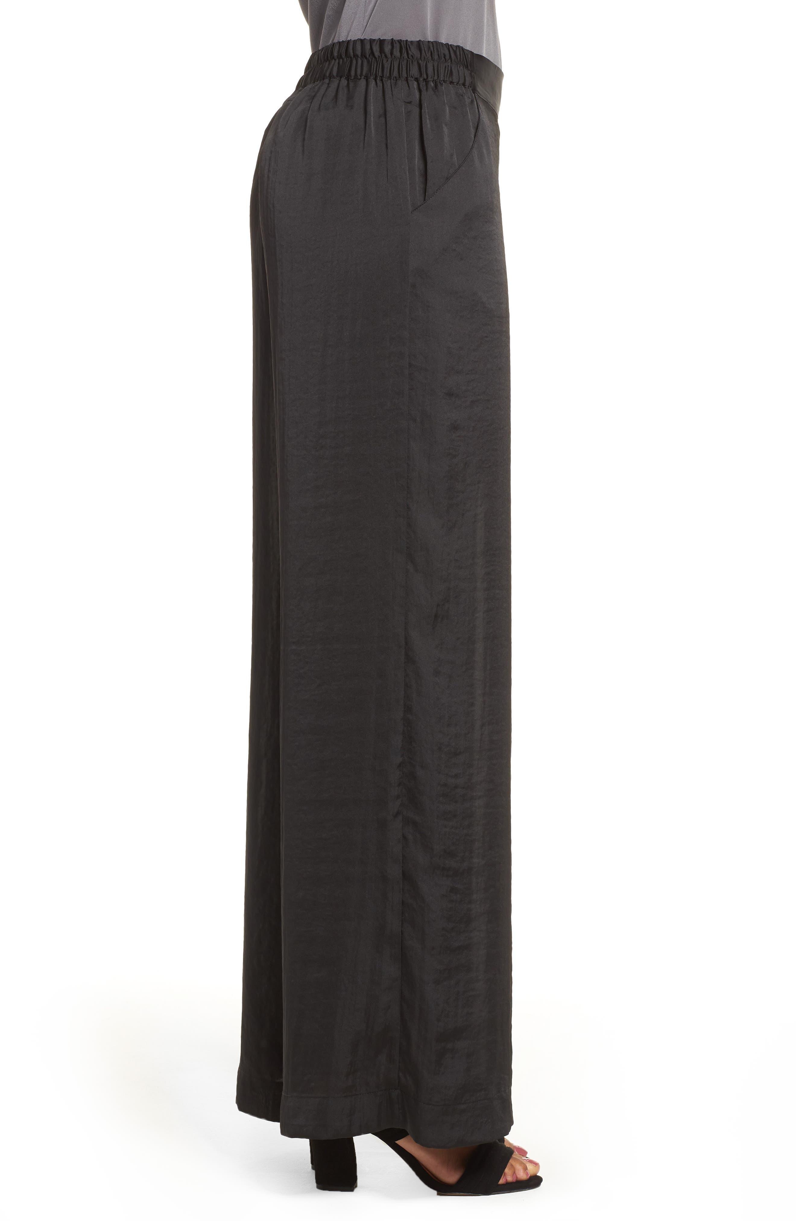 Kenneth Cole Wide Leg Pants,                             Alternate thumbnail 3, color,                             Black