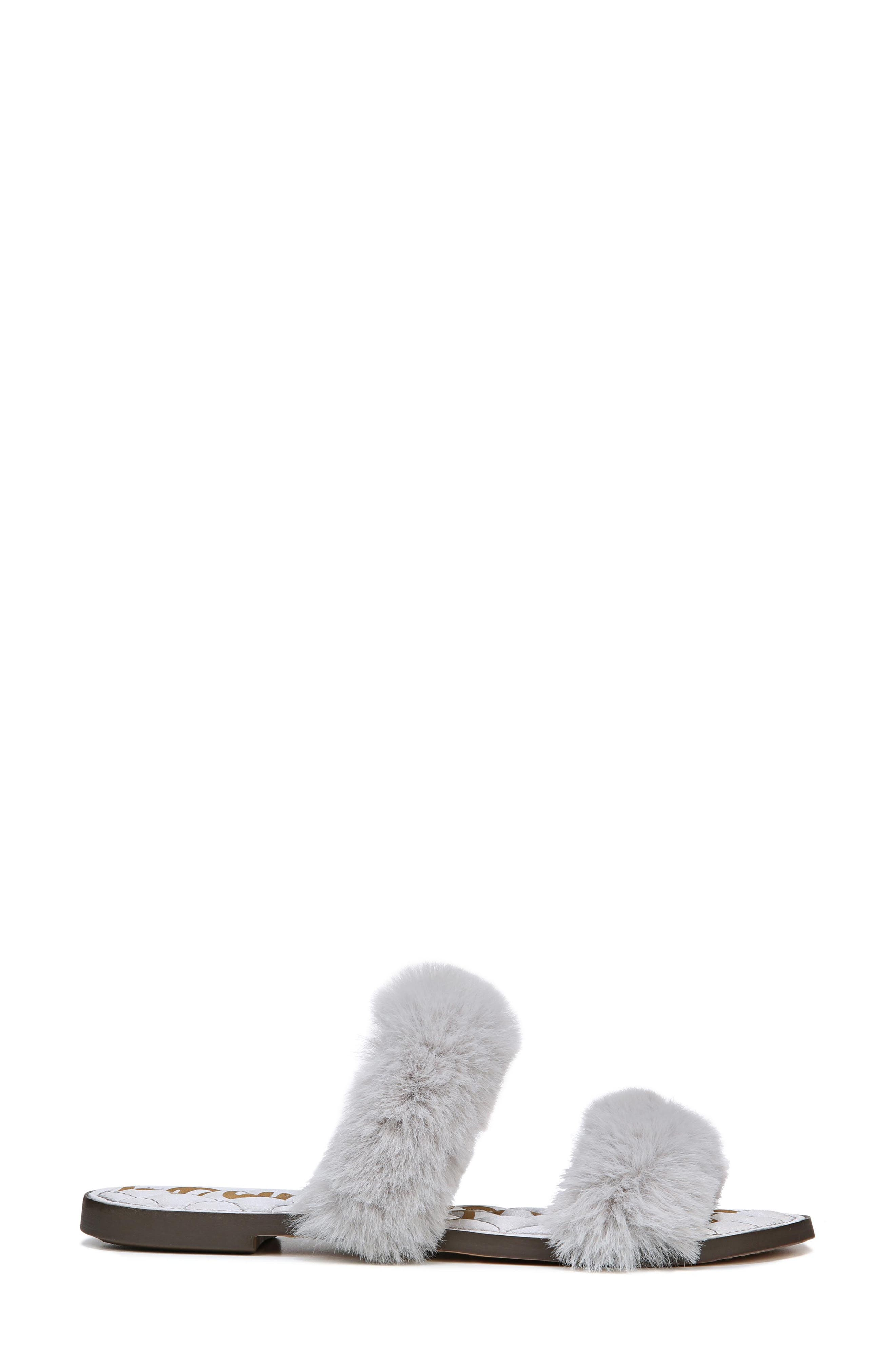 Griselda Faux Fur Slide Sandal,                             Alternate thumbnail 3, color,                             Light Grey Faux Fur
