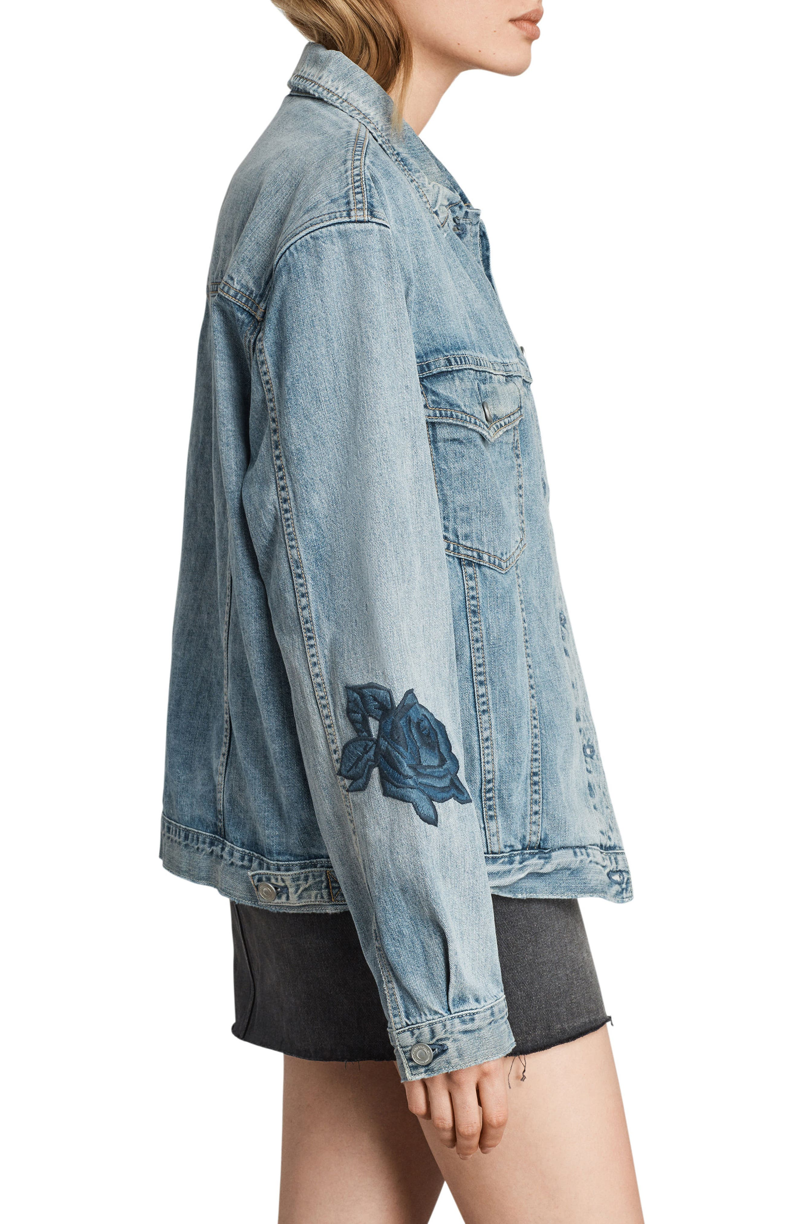 Rose Embroidered Oversize Denim Jacket,                             Alternate thumbnail 3, color,                             Indigo Blue