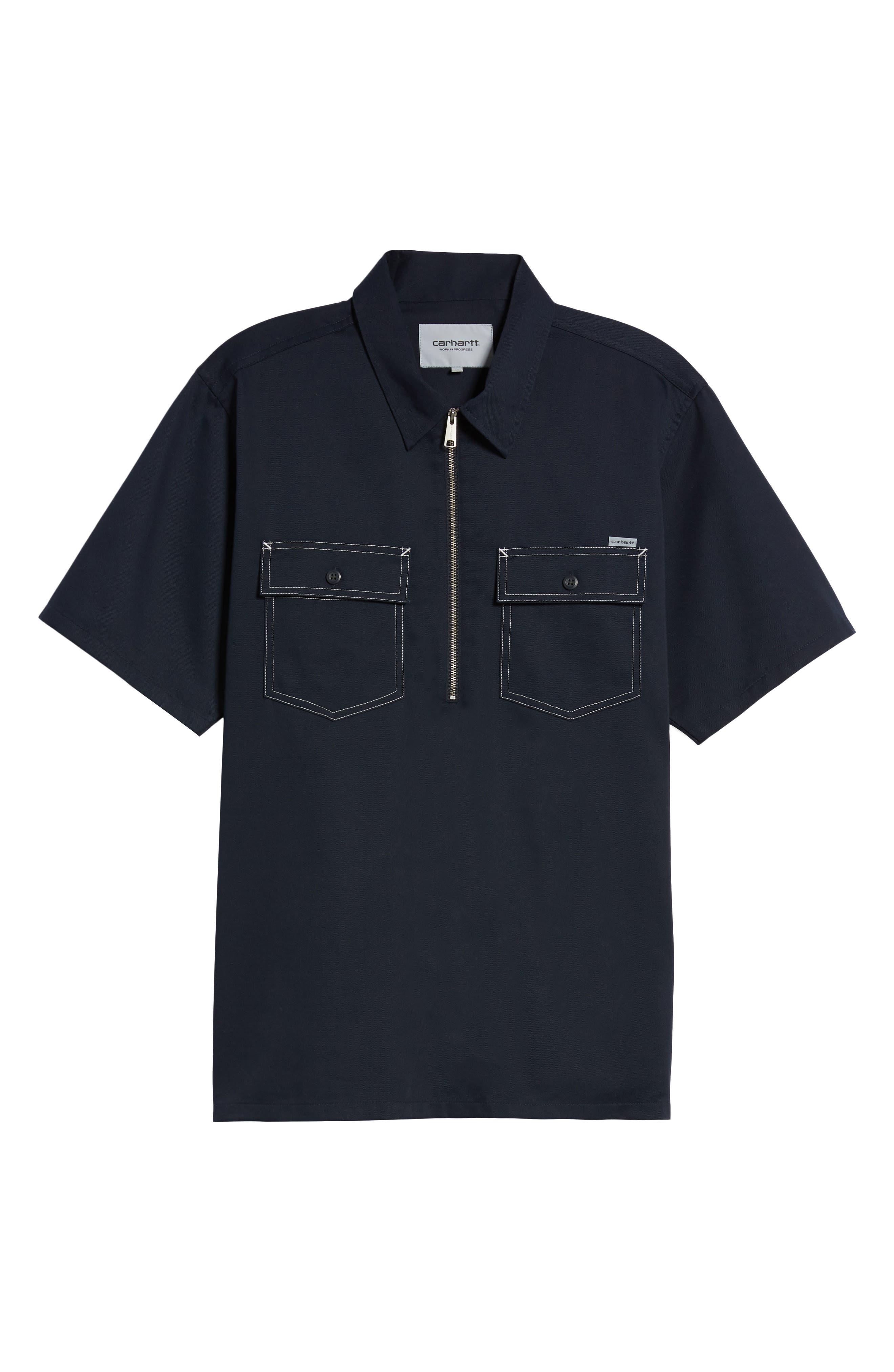 Medford Woven Shirt,                             Alternate thumbnail 6, color,                             Dark Navy