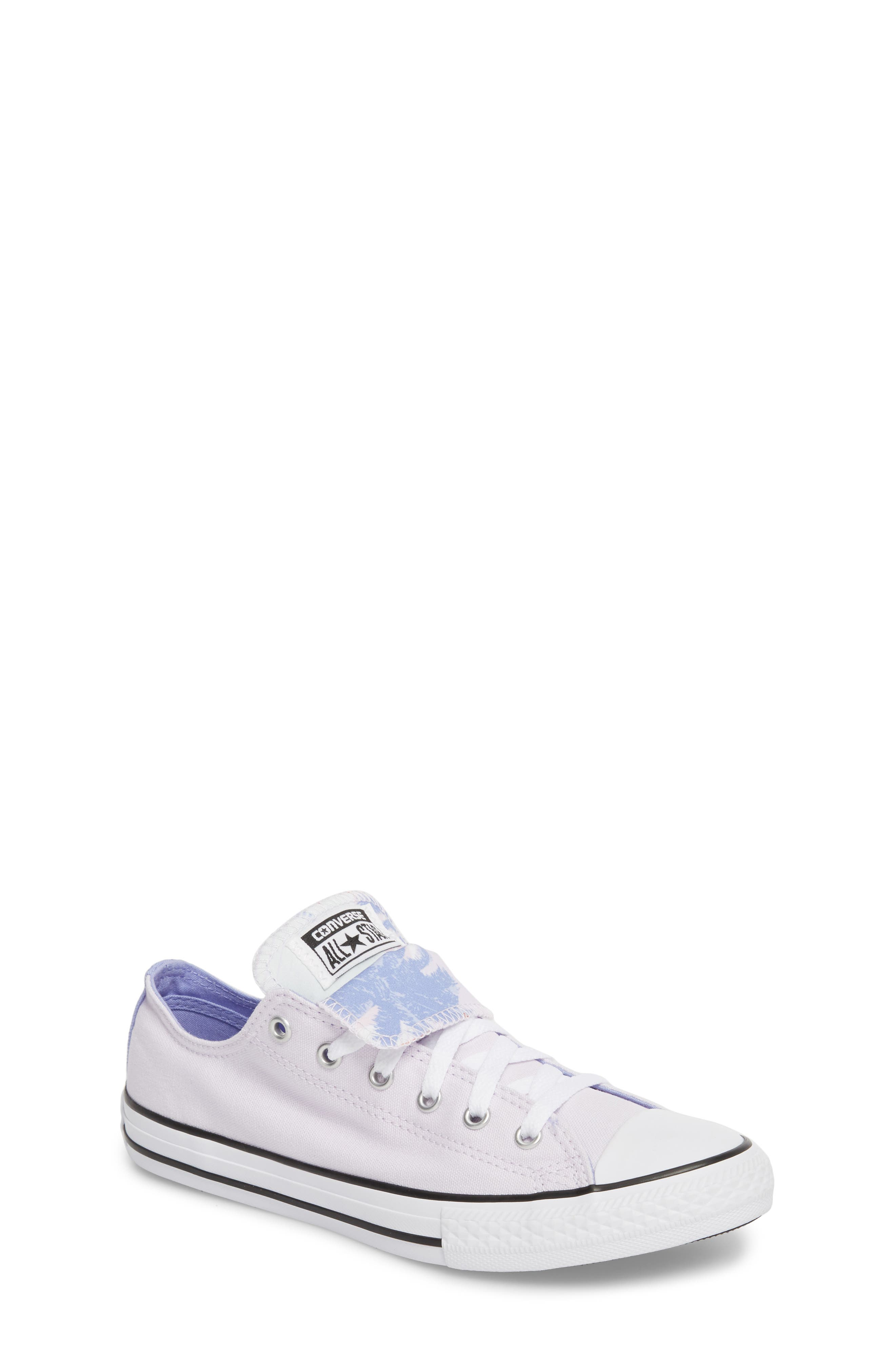 Chuck Taylor<sup>®</sup> All Star<sup>®</sup> Palm Tree Double Tongue Low Top Sneaker,                         Main,                         color, Barely Grape